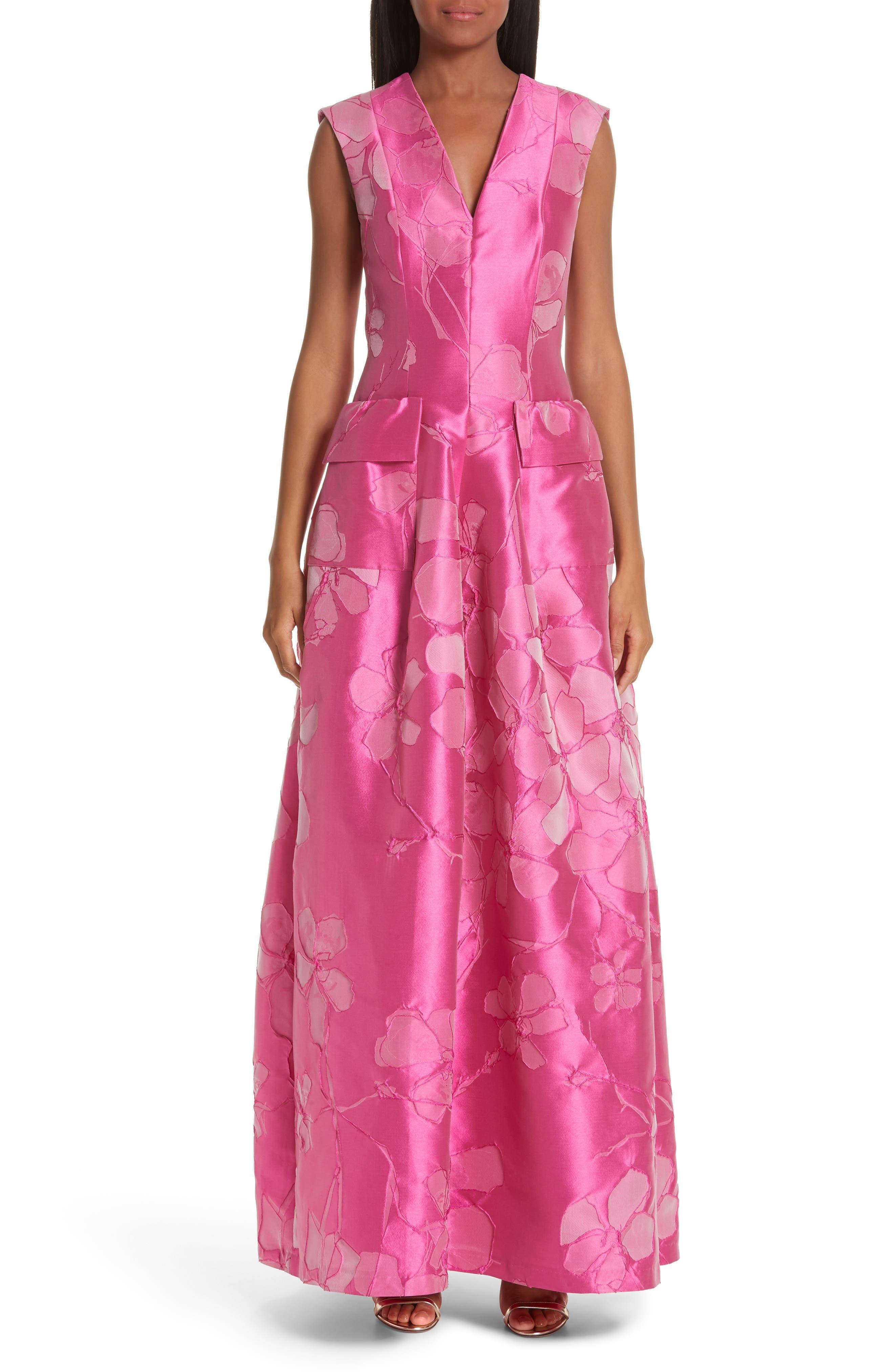TALBOT RUNHOF,                             Floral V-Neck Evening Dress,                             Main thumbnail 1, color,                             FUCHSIA PINK