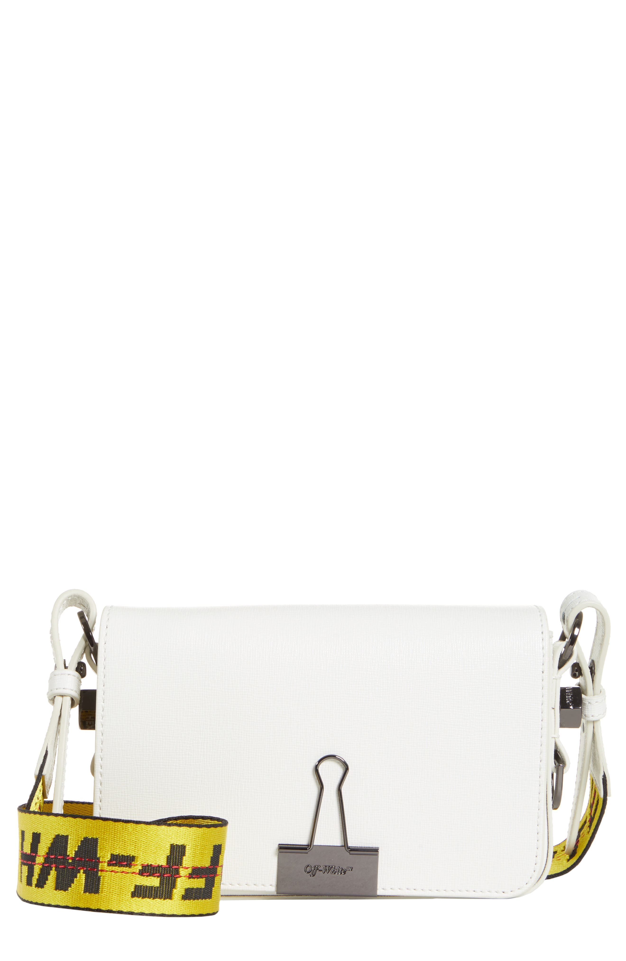 Mini Leather Flap Bag,                             Main thumbnail 1, color,                             WHITE NO COLOR