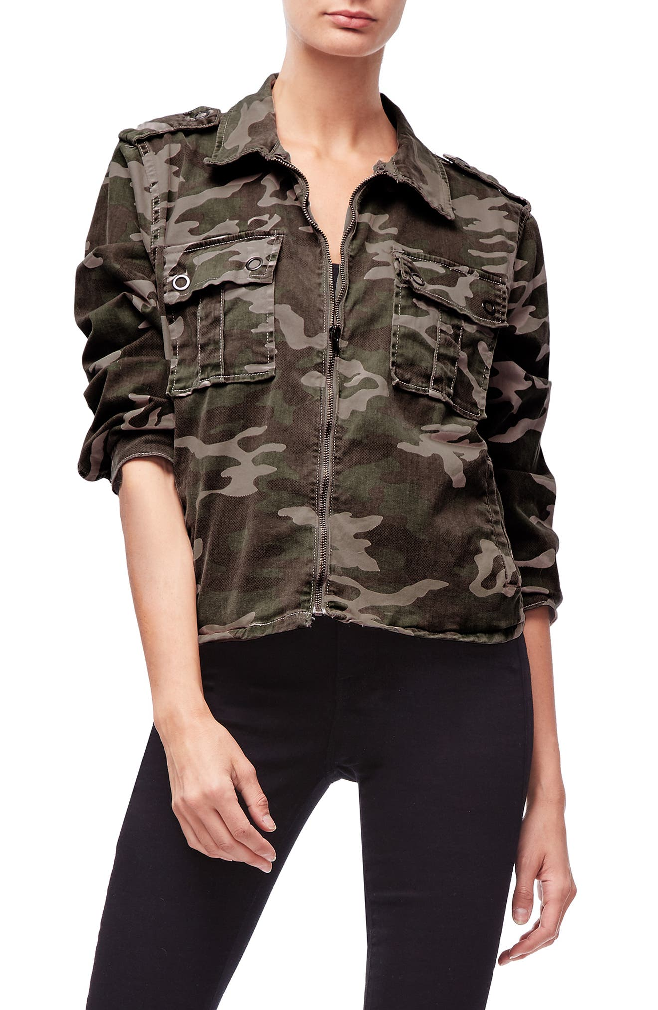 Camo Print Military Jacket,                             Alternate thumbnail 7, color,                             301