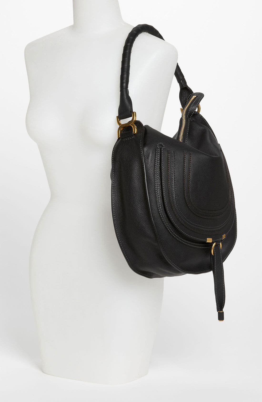 'Marcie - Medium' Leather Hobo,                             Alternate thumbnail 3, color,                             001