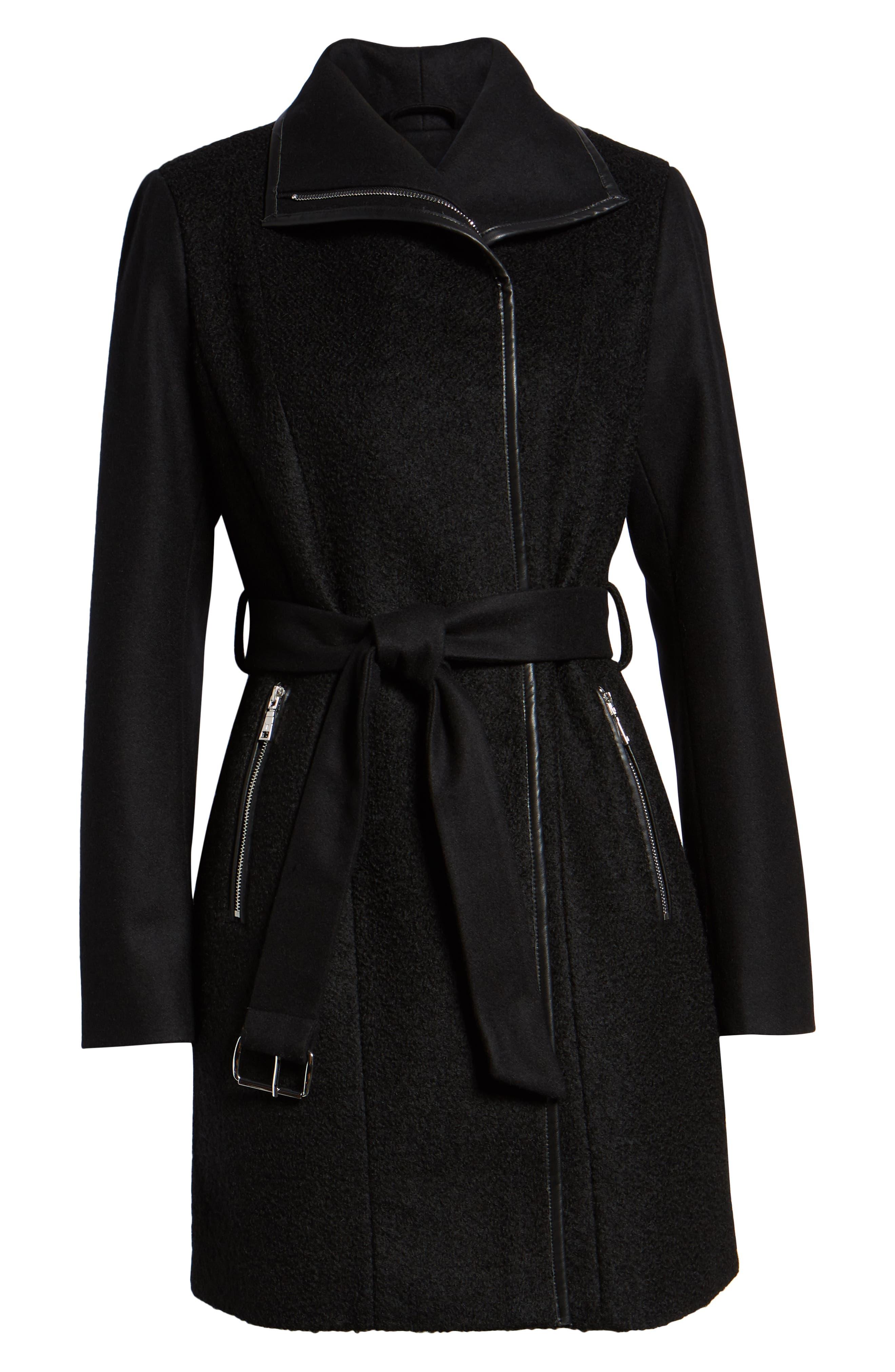 Elaine Boiled Wool Blend Coat,                             Alternate thumbnail 6, color,                             BLACK