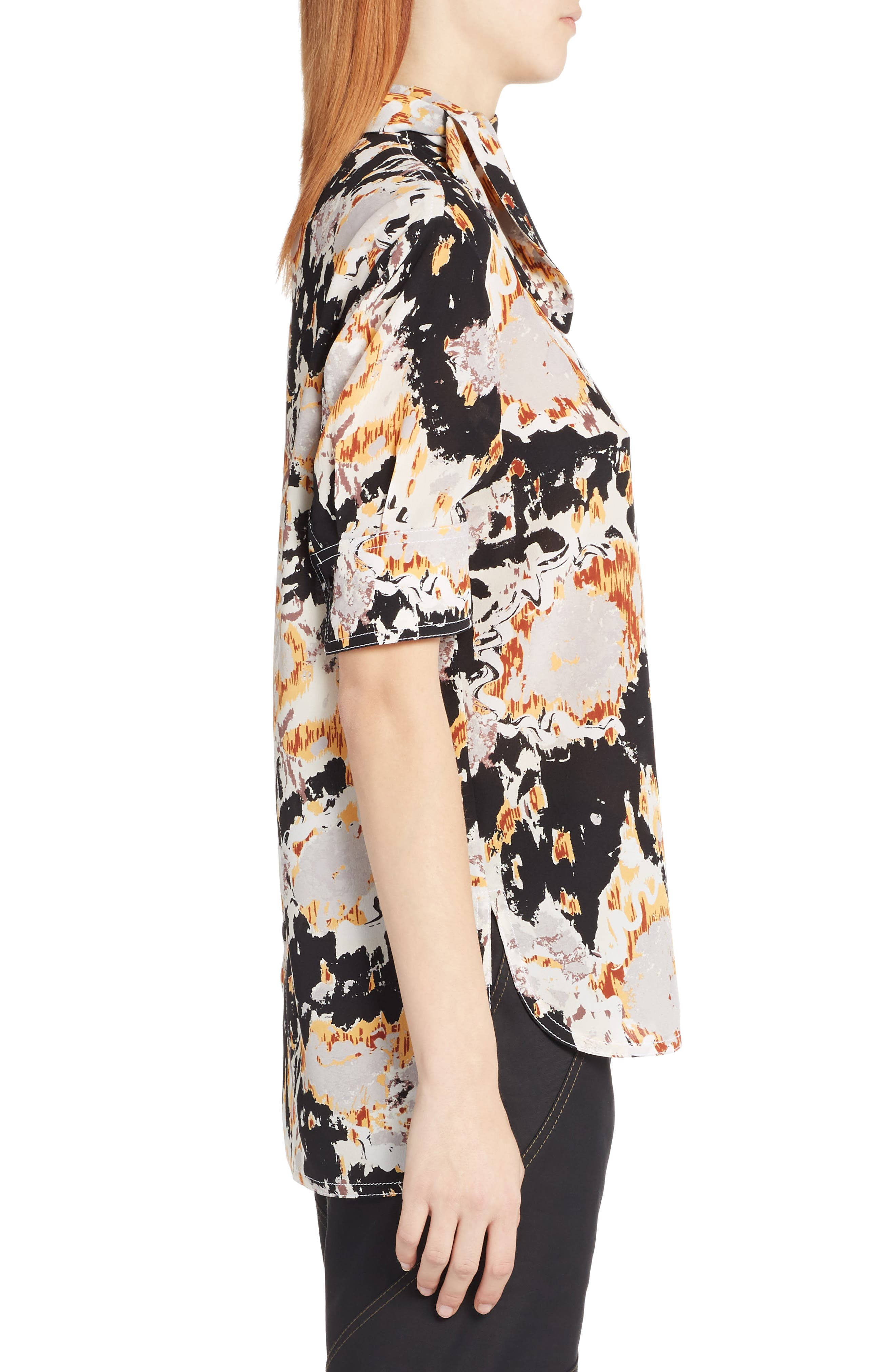 Magma Print Silk Crepe Blouse,                             Alternate thumbnail 3, color,                             800