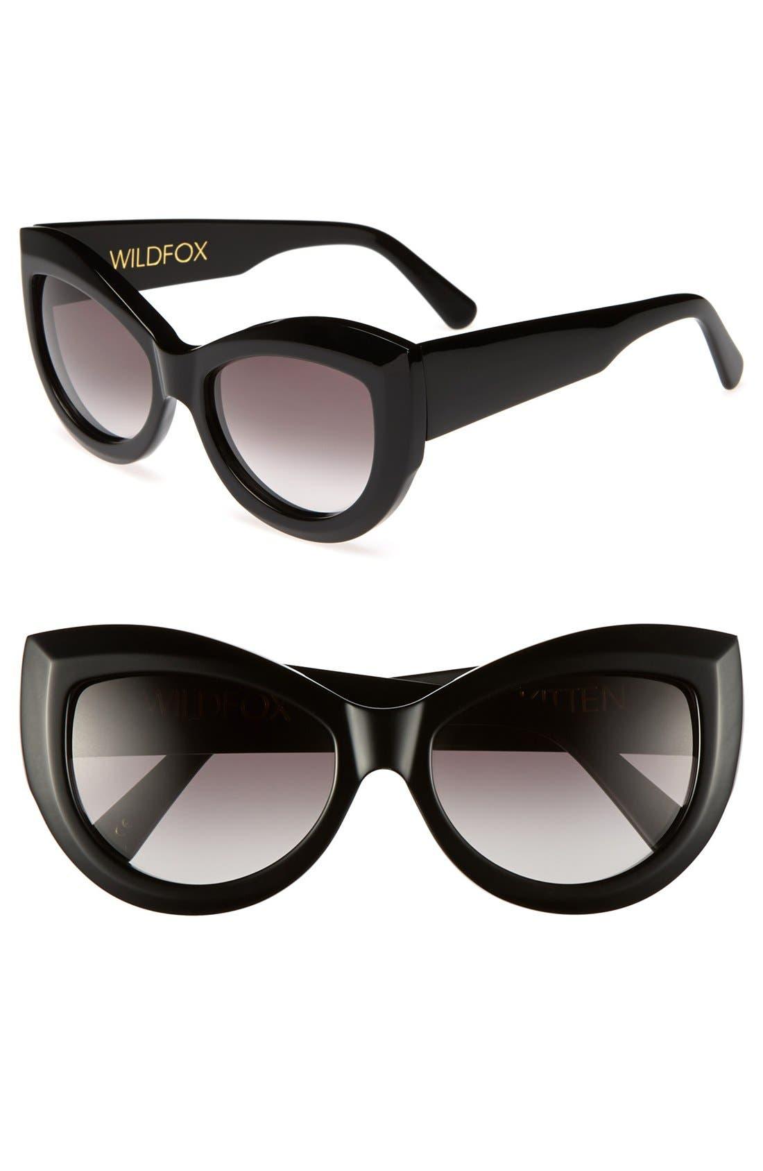 WILDFOX 'Kitten' 56mm Sunglasses, Main, color, 001