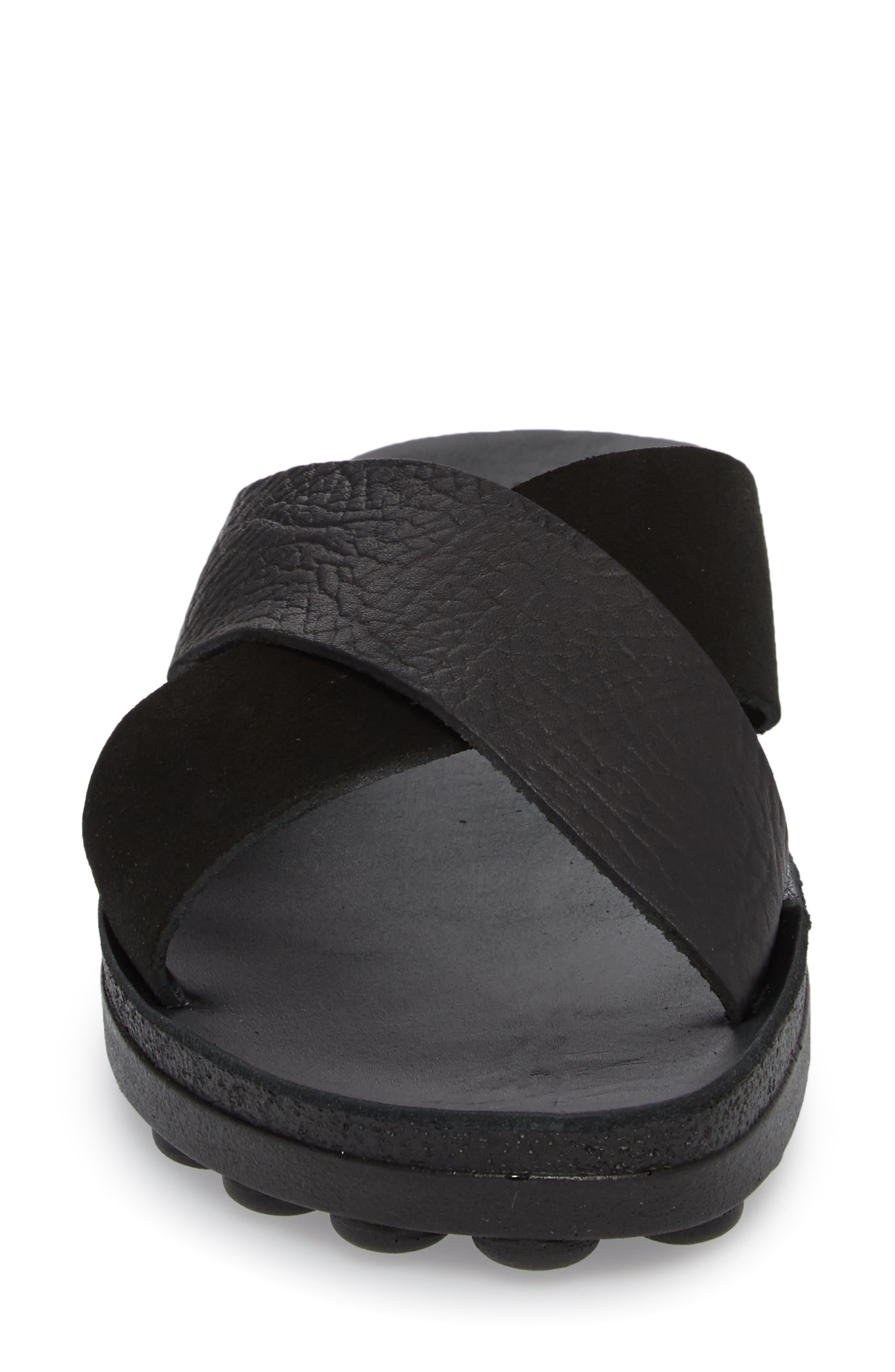 Charis Slide Sandal,                             Alternate thumbnail 4, color,                             BLACK DOLARO LEATHER