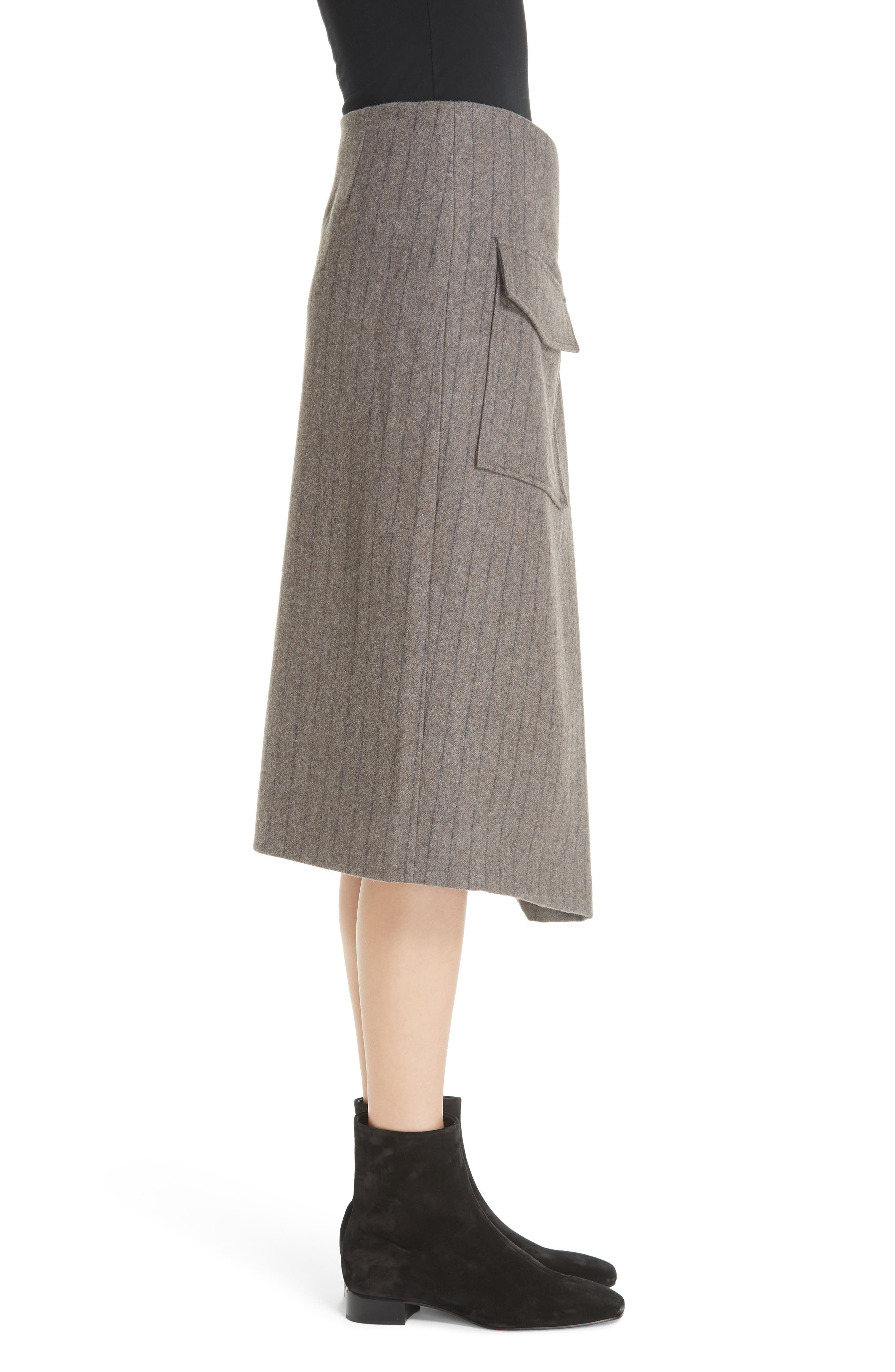 Noemie Pinstripe Wrap A-Line Skirt,                             Alternate thumbnail 3, color,                             STONE