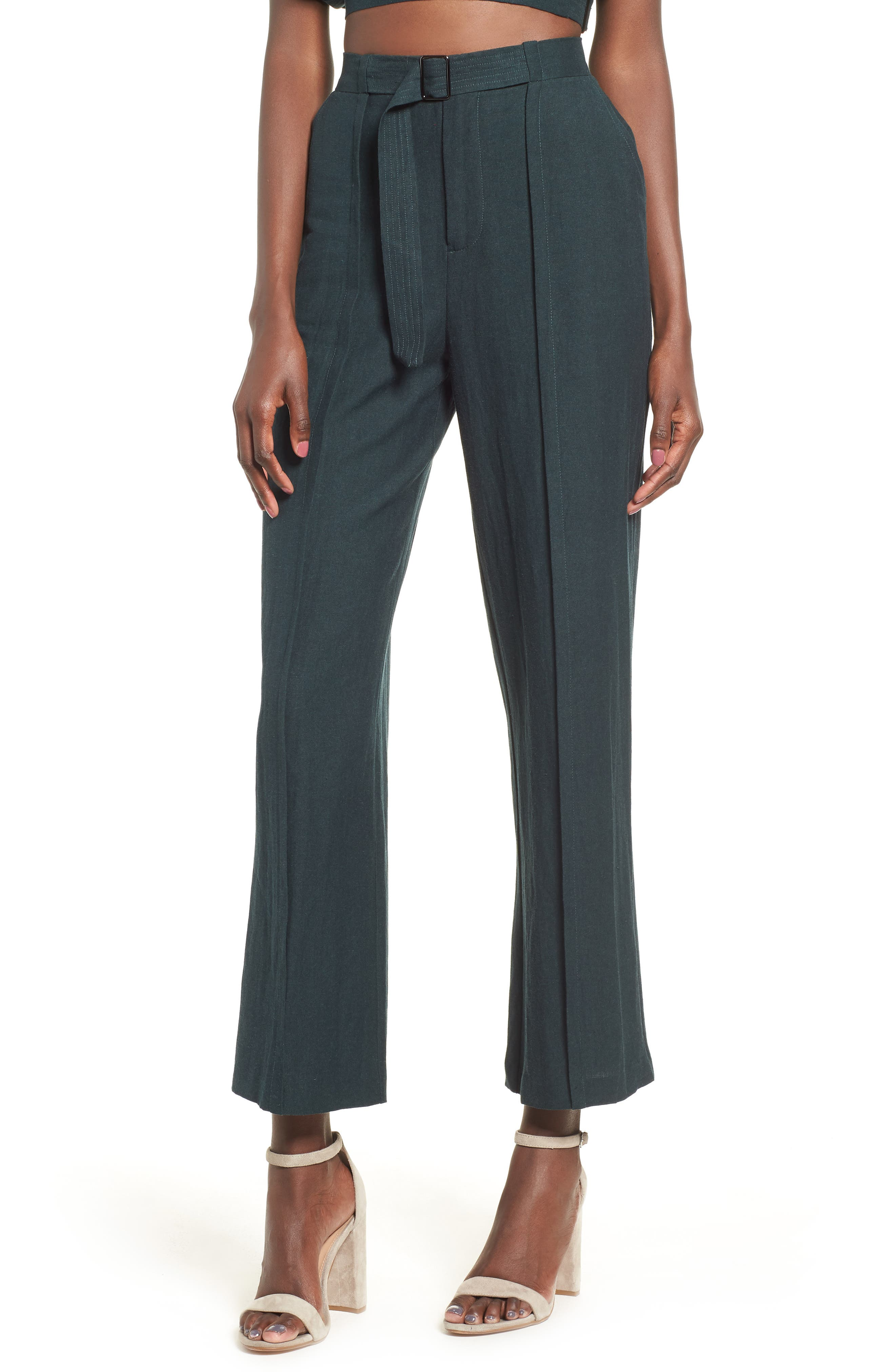 Belted High Waist Pants,                         Main,                         color, FOREST