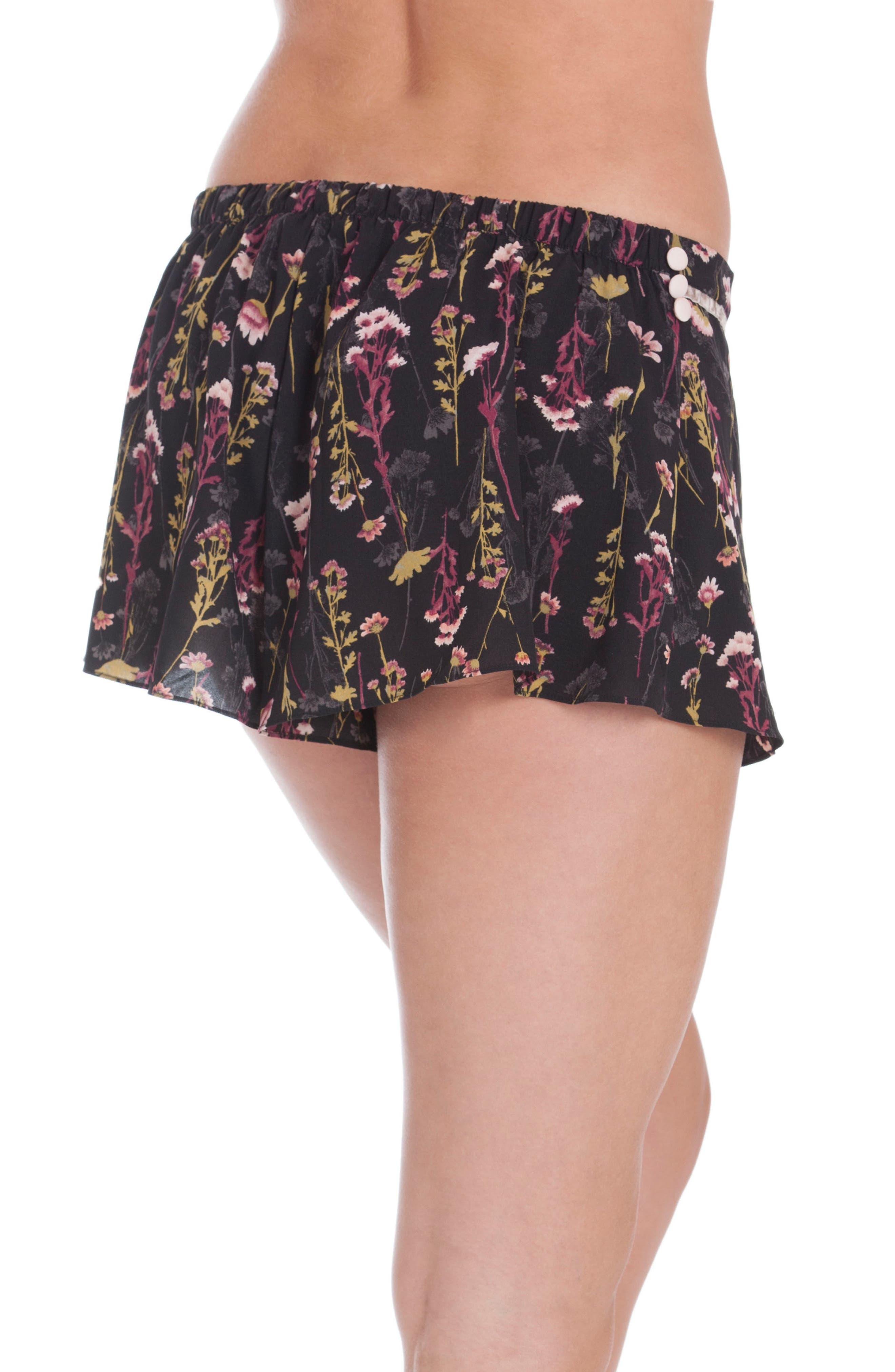 Floral Print Lounge Shorts,                             Alternate thumbnail 2, color,                             001