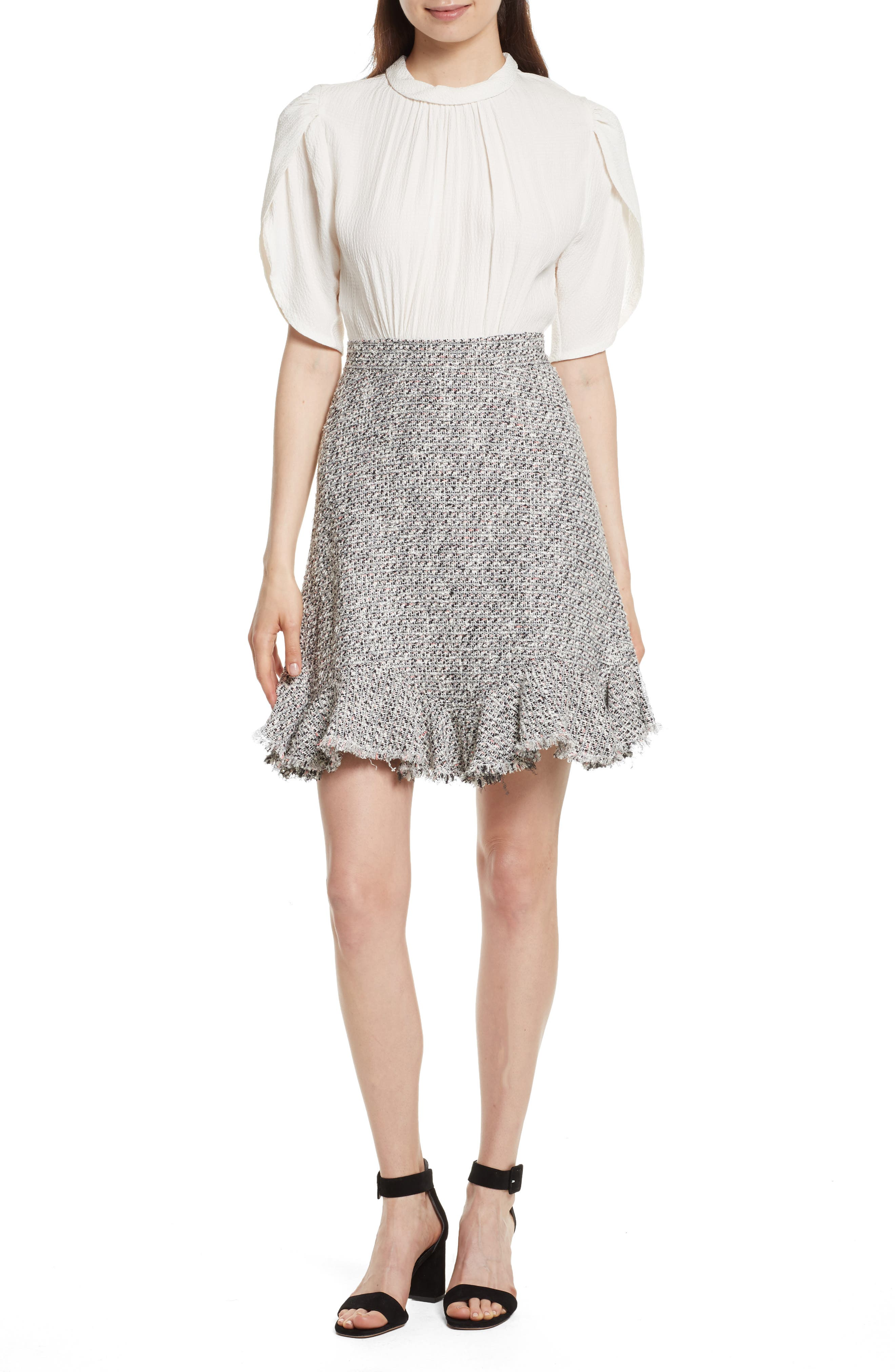 Silk & Tweed A-Line Dress,                             Main thumbnail 1, color,