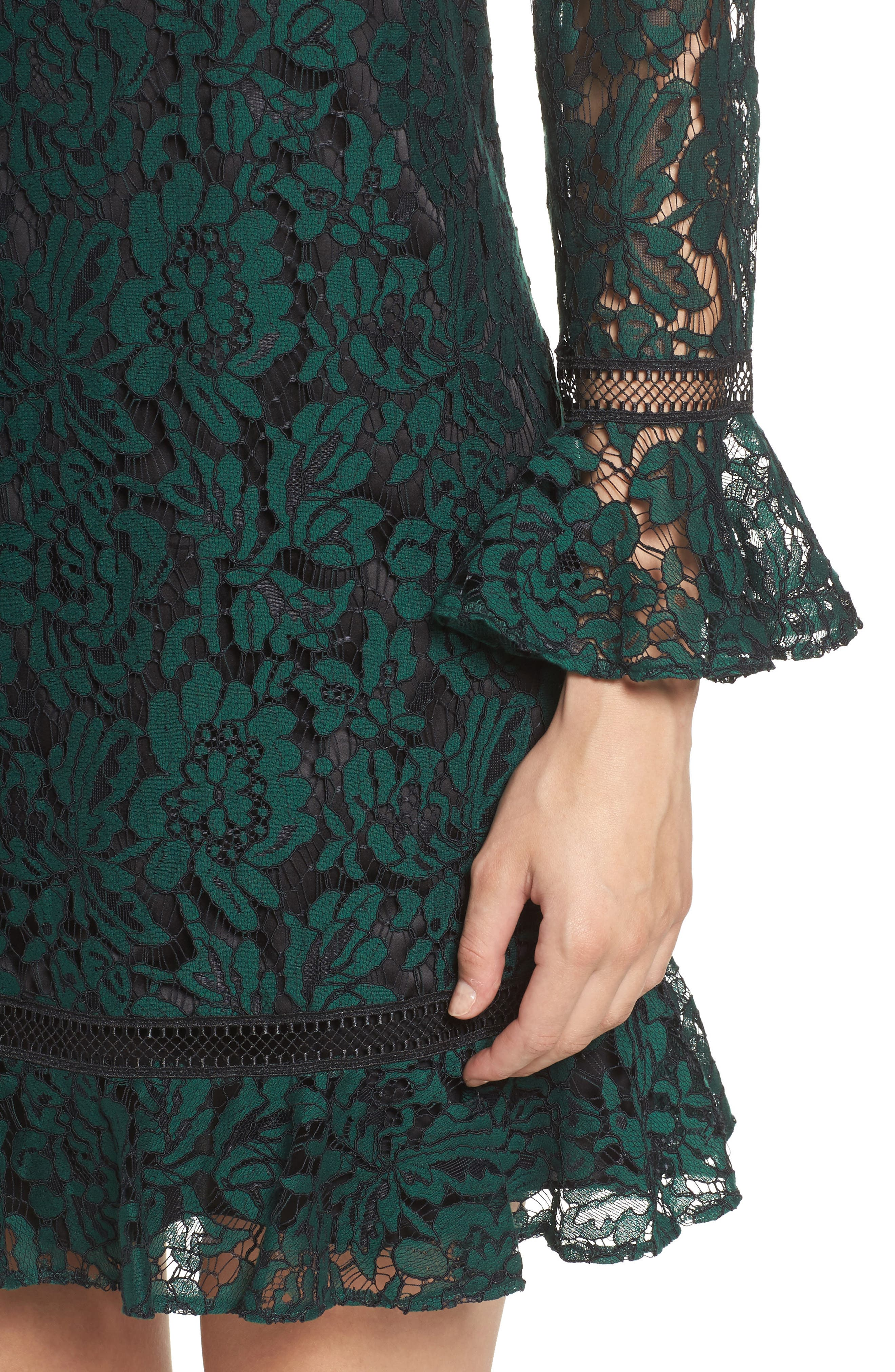 Bell Sleeve Lace Shift Dress,                             Alternate thumbnail 4, color,                             HUNTER