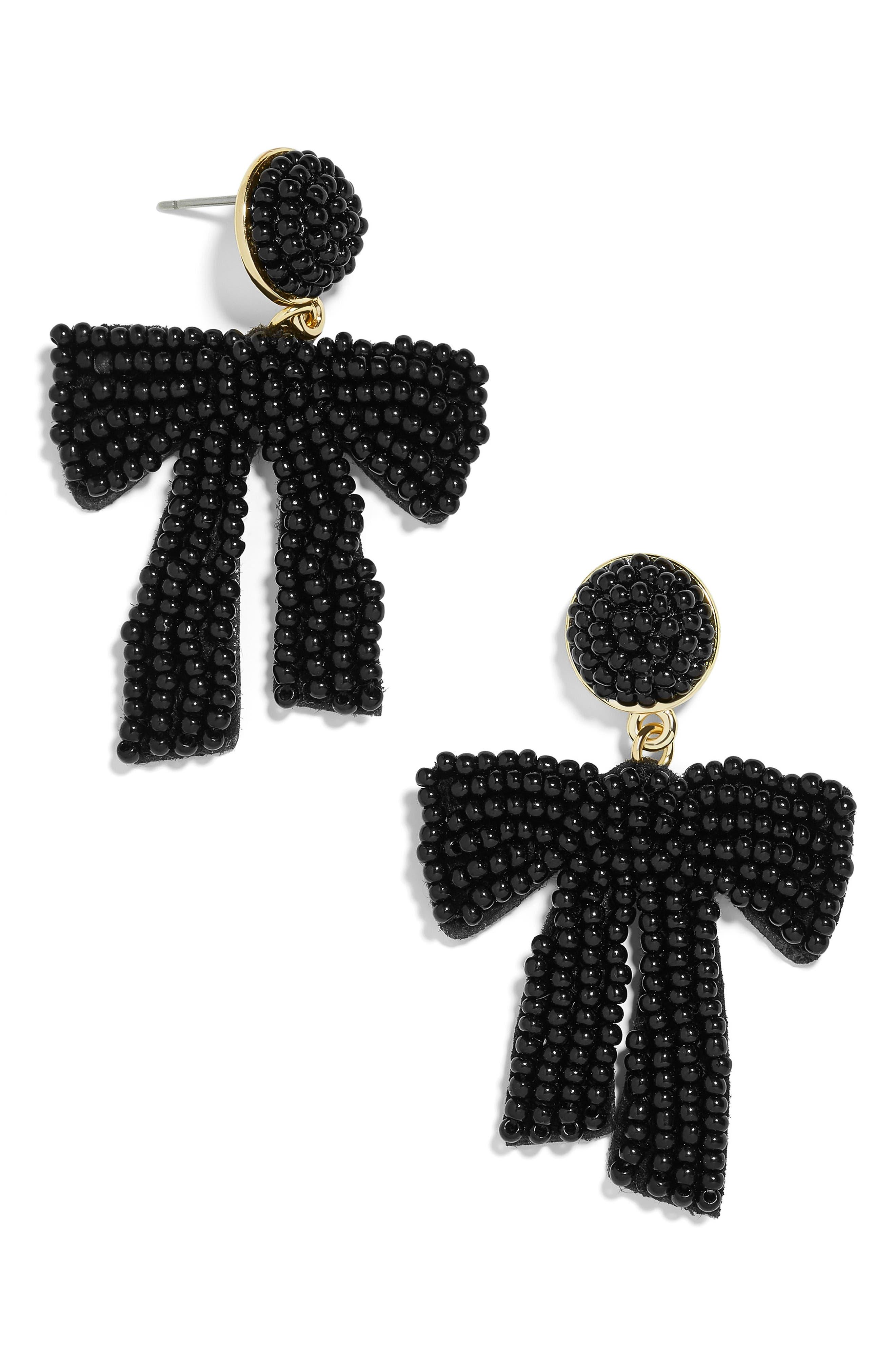 Sachi Bow Drop Earrings, Main, color, BLACK