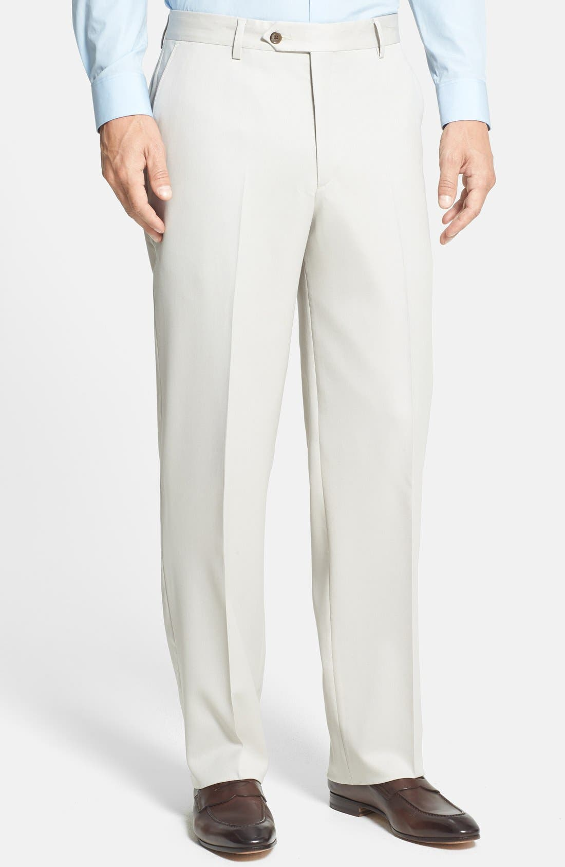 BERLE Flat Front Wool Gabardine Trousers, Main, color, STONE