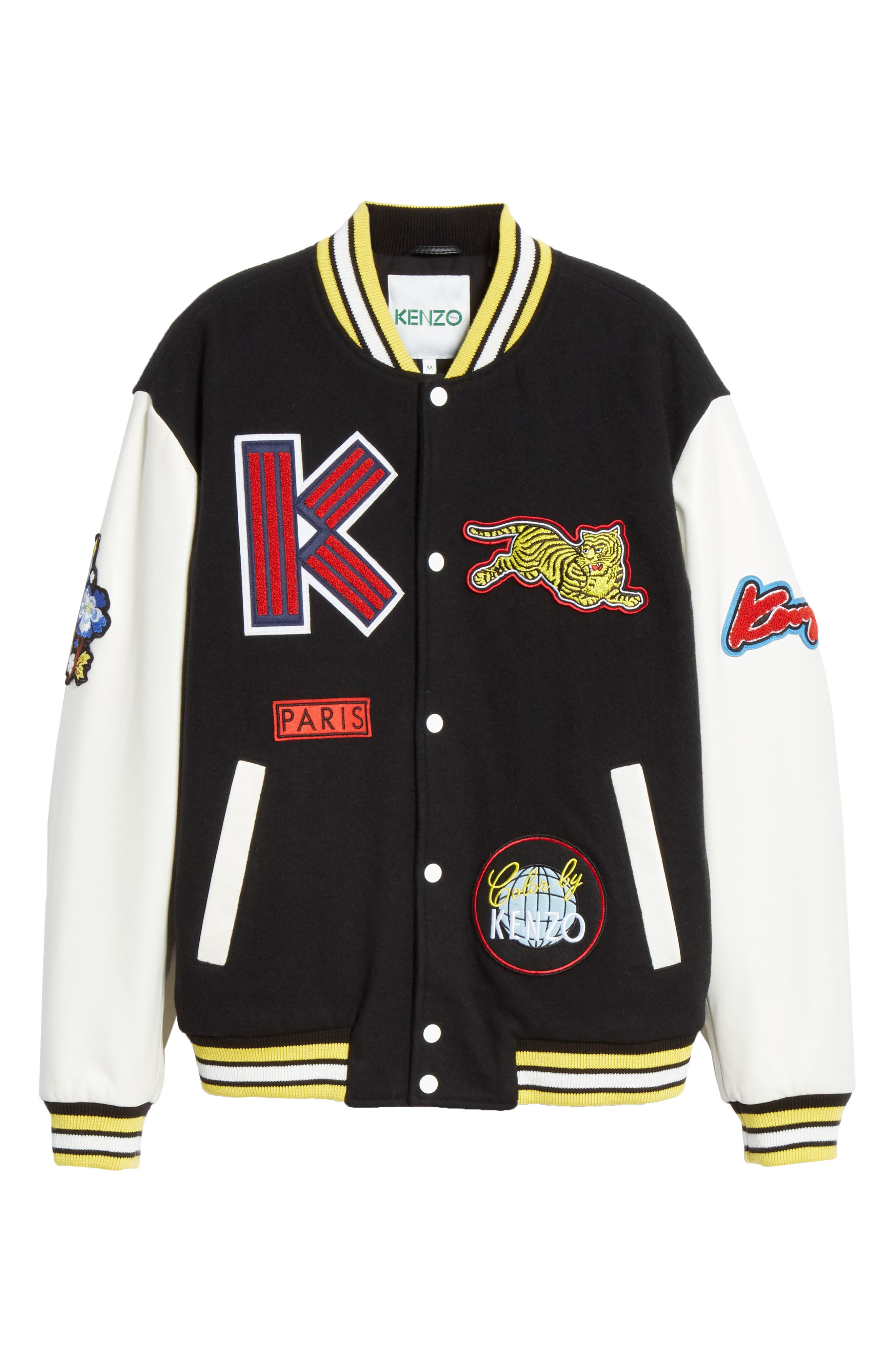 Embroidered Varsity Jacket,                             Alternate thumbnail 5, color,                             001