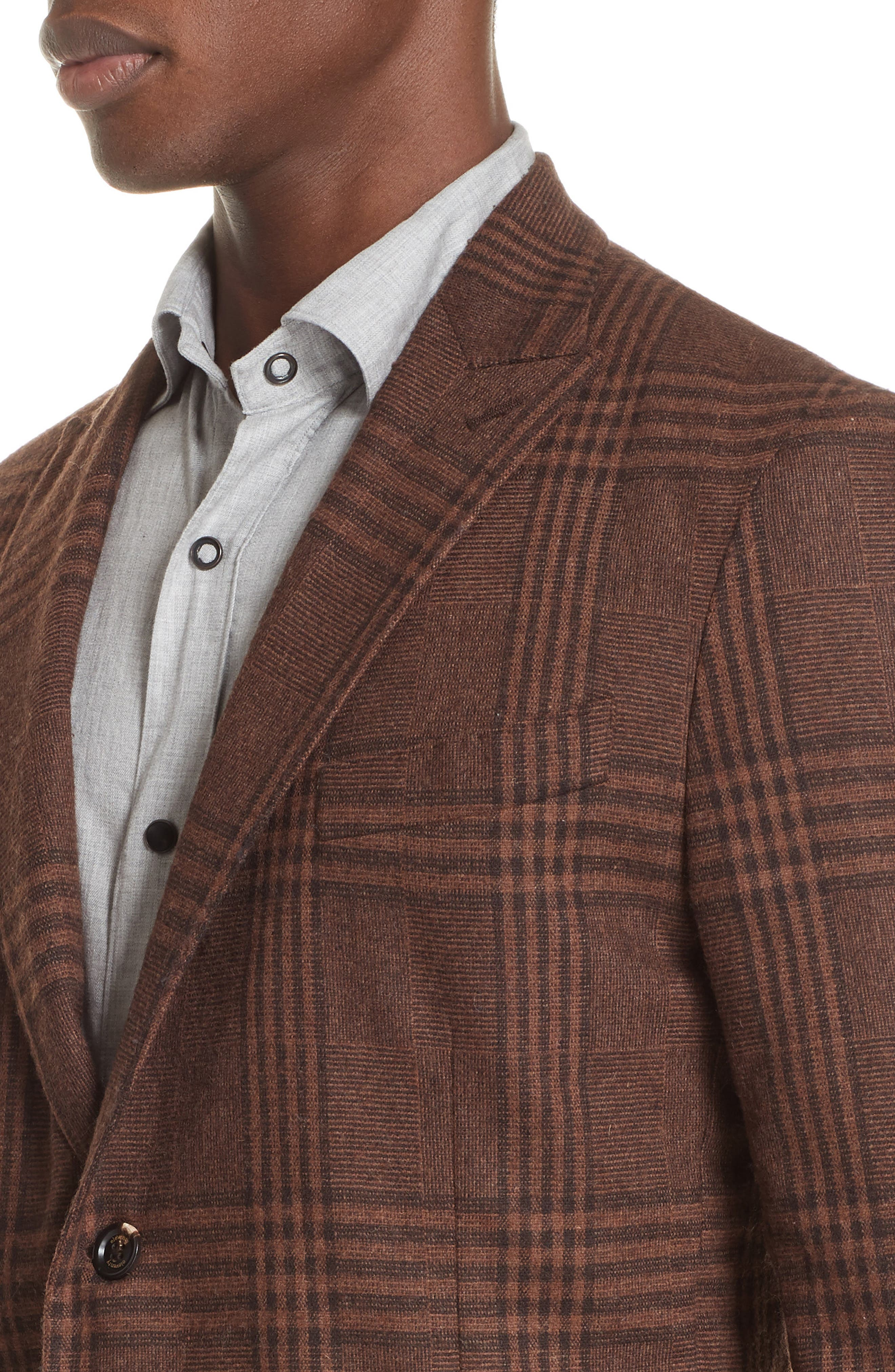 Trim Fit Plaid Stretch Wool Blend Sport Coat,                             Alternate thumbnail 4, color,                             BROWN