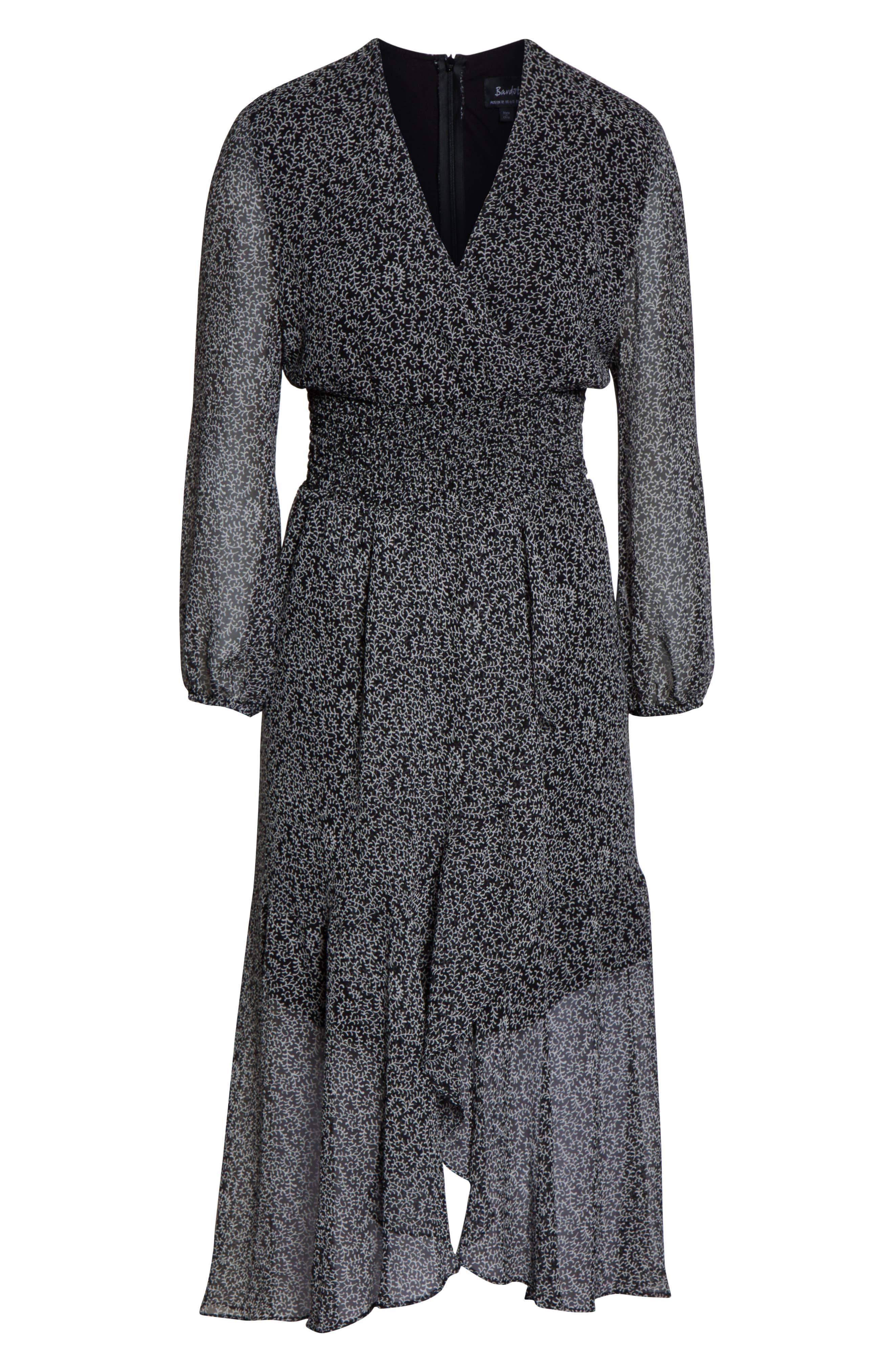 BARDOT,                             Sally Faux Chiffon Wrap Dress,                             Alternate thumbnail 4, color,                             ABSTRACT PAISLEY