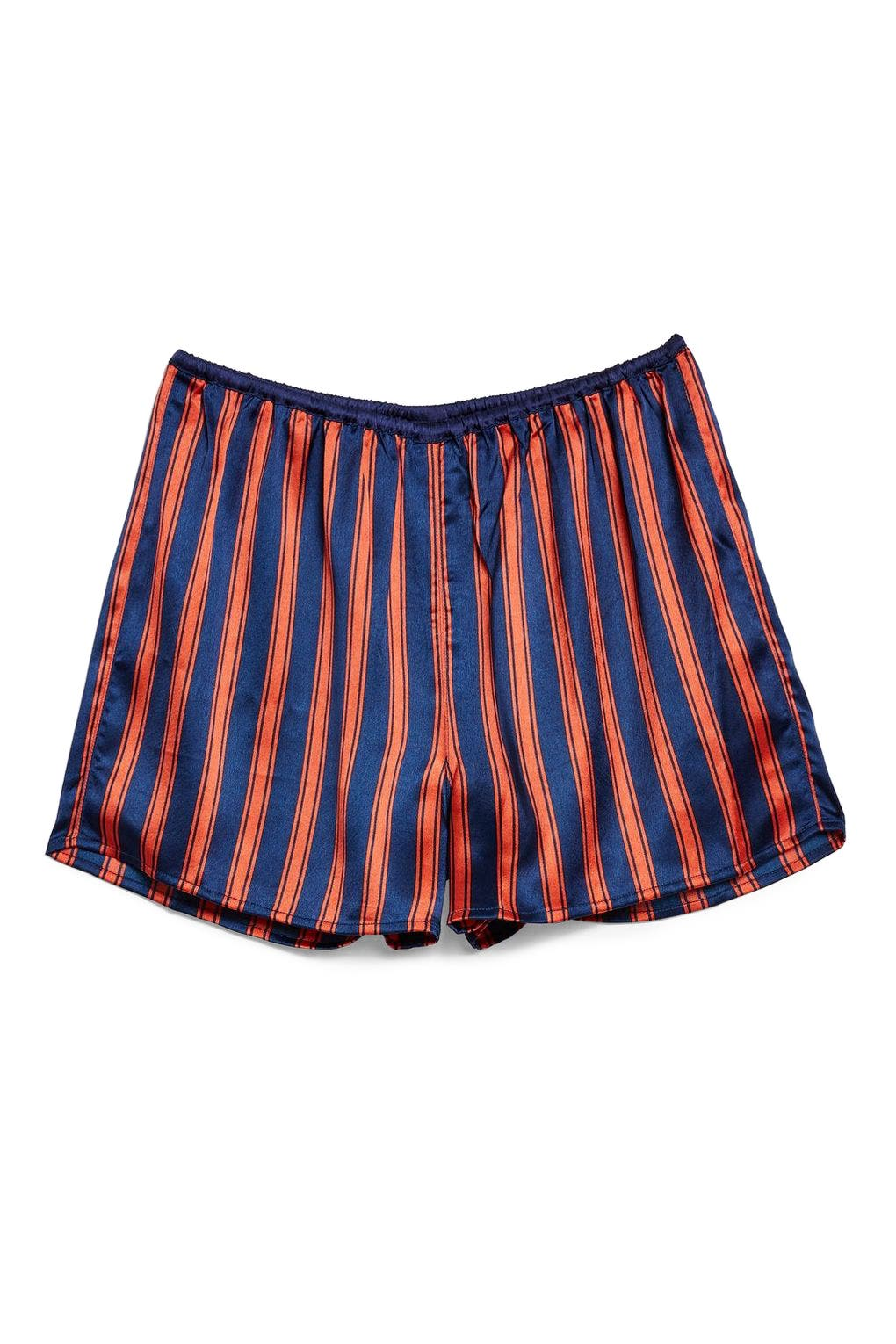 Striped Satin Pajama Shorts,                             Alternate thumbnail 2, color,                             NAVY MULTI