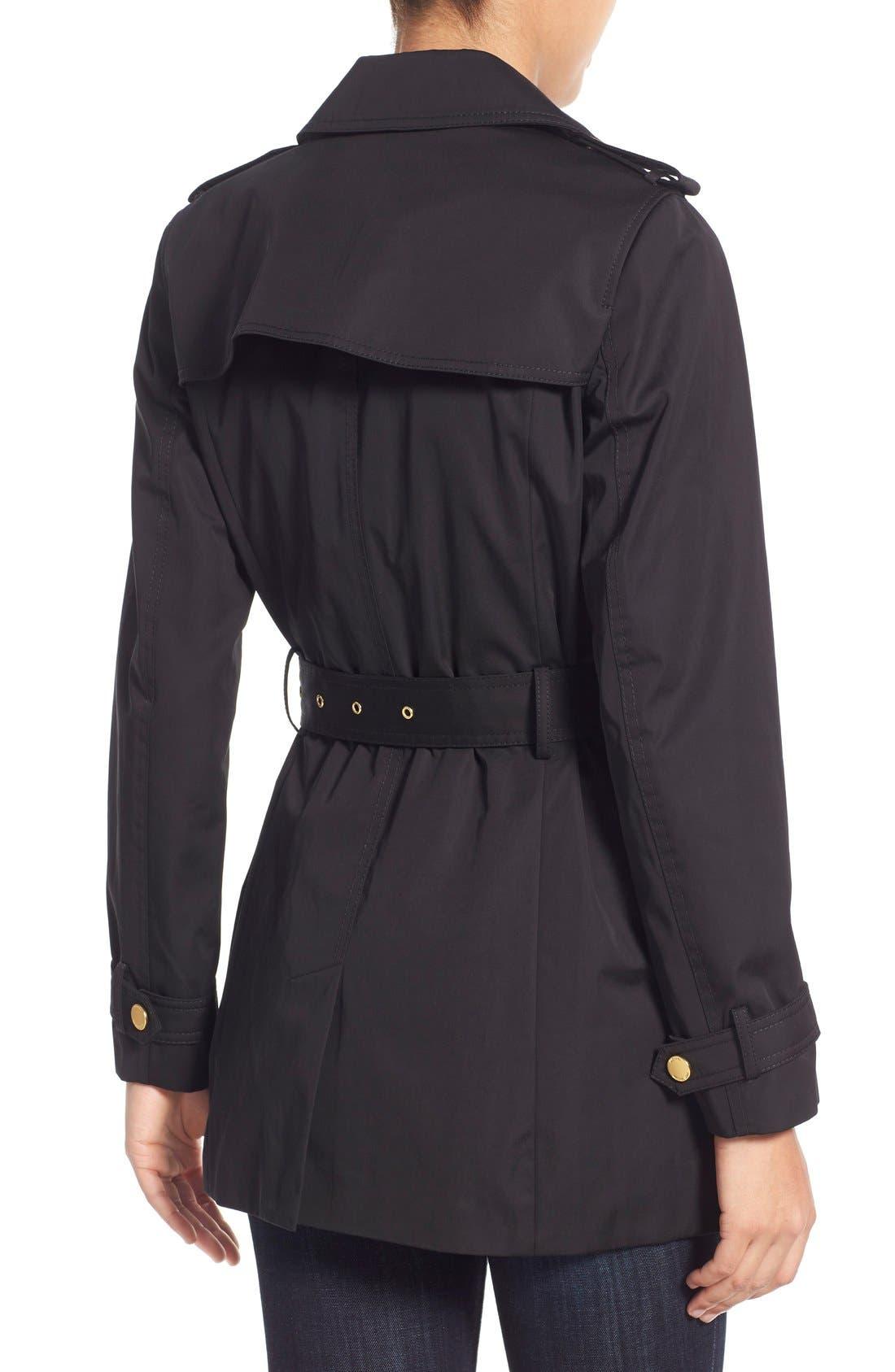 MICHAEL MICHAEL KORS,                             Asymmetrical Zip Sateen Trench Coat,                             Alternate thumbnail 4, color,                             001