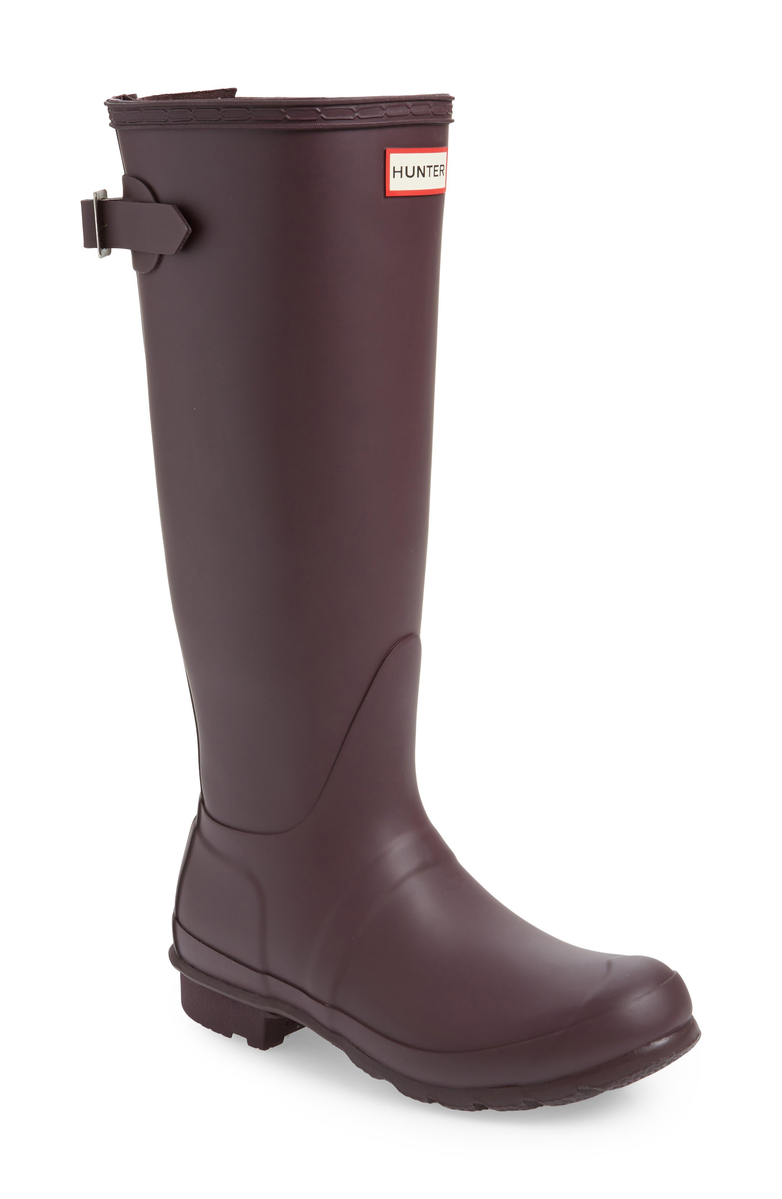 Original Tall Adjustable Back Waterproof Rain Boot,                         Main,                         color, BLACK GRAPE