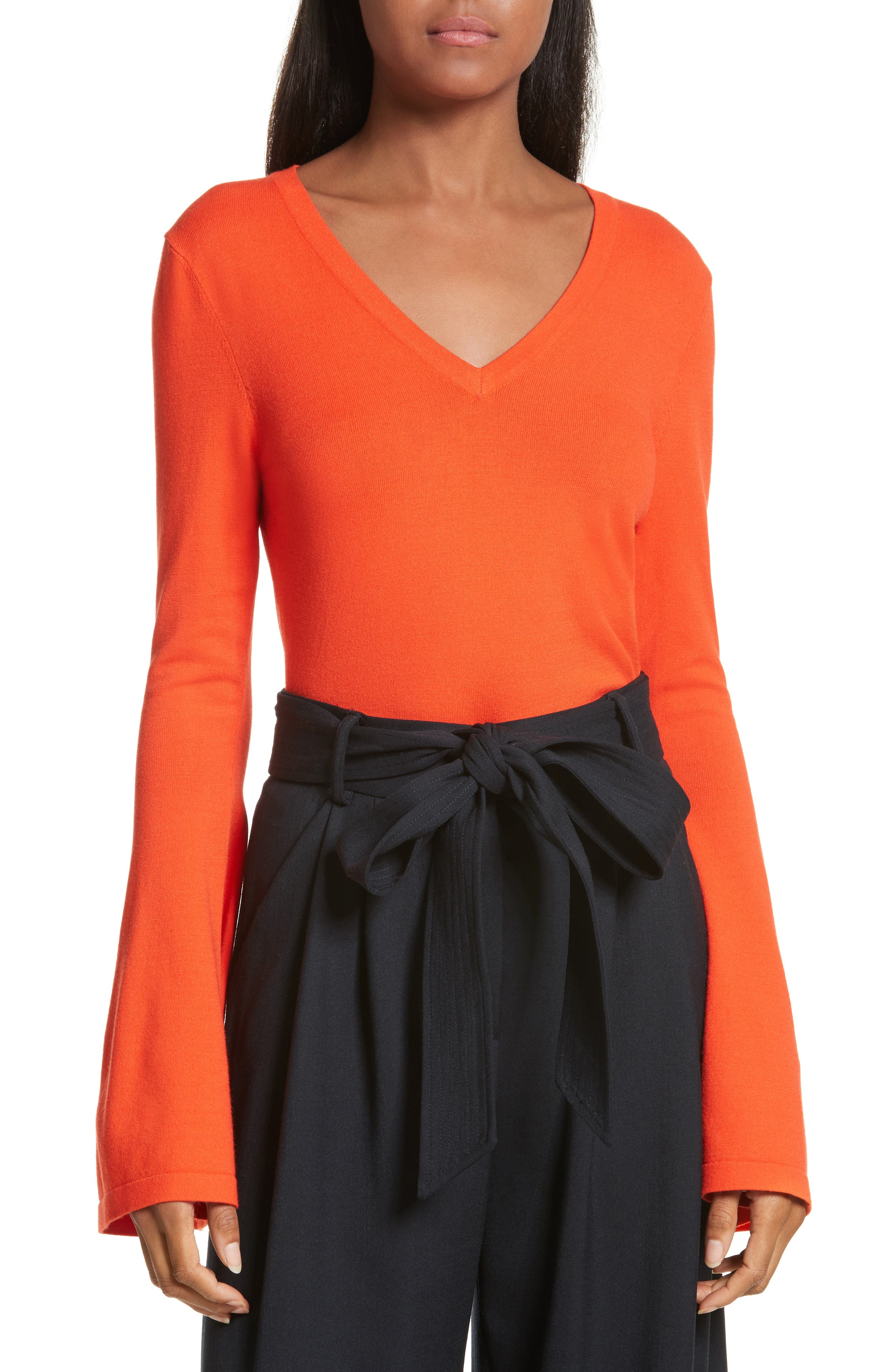 Bell Sleeve V-Neck Sweater,                             Main thumbnail 4, color,