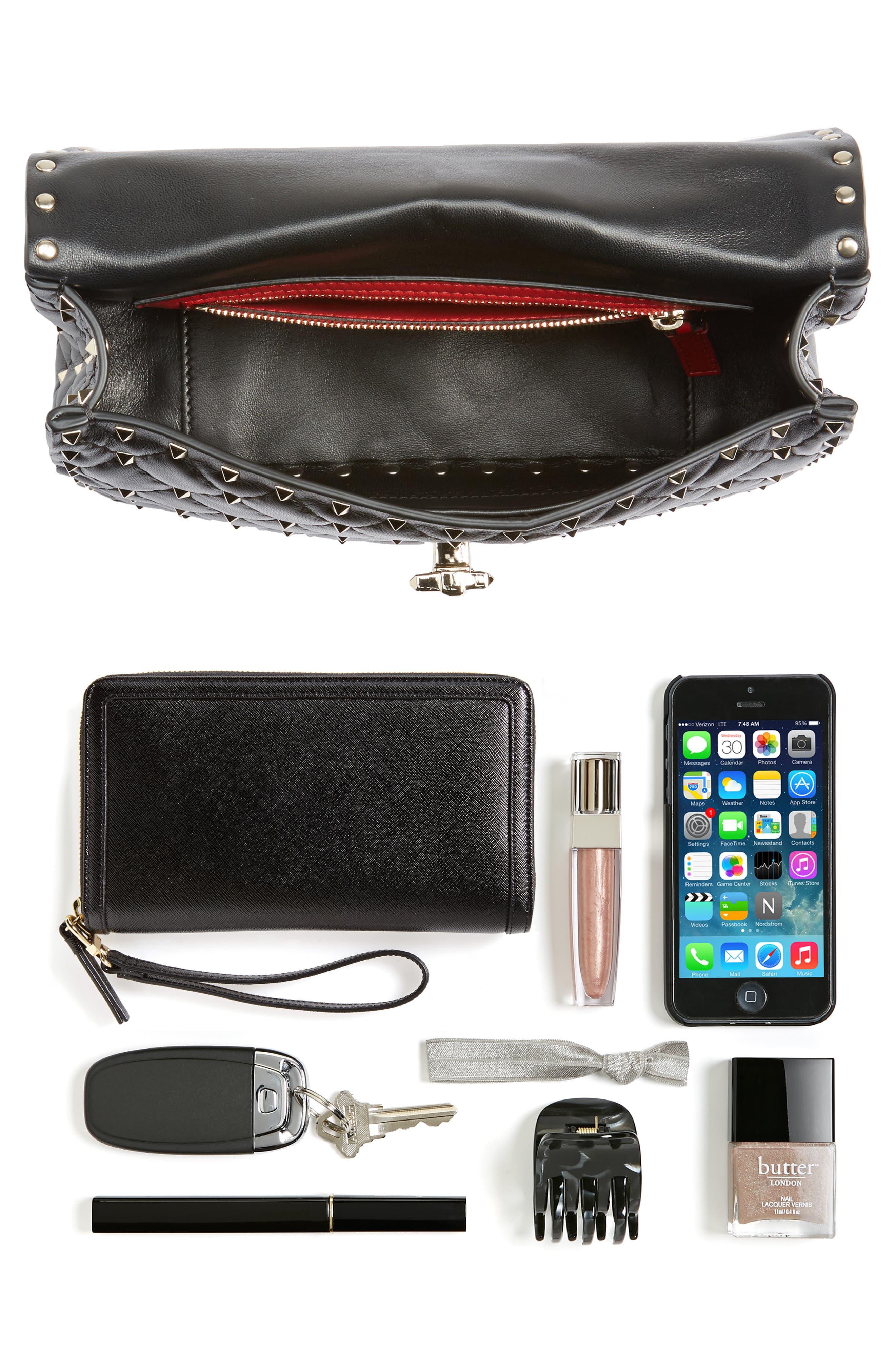 Medium Rockstud Matelassé Quilted Leather Shoulder Bag,                             Alternate thumbnail 7, color,                             BLACK
