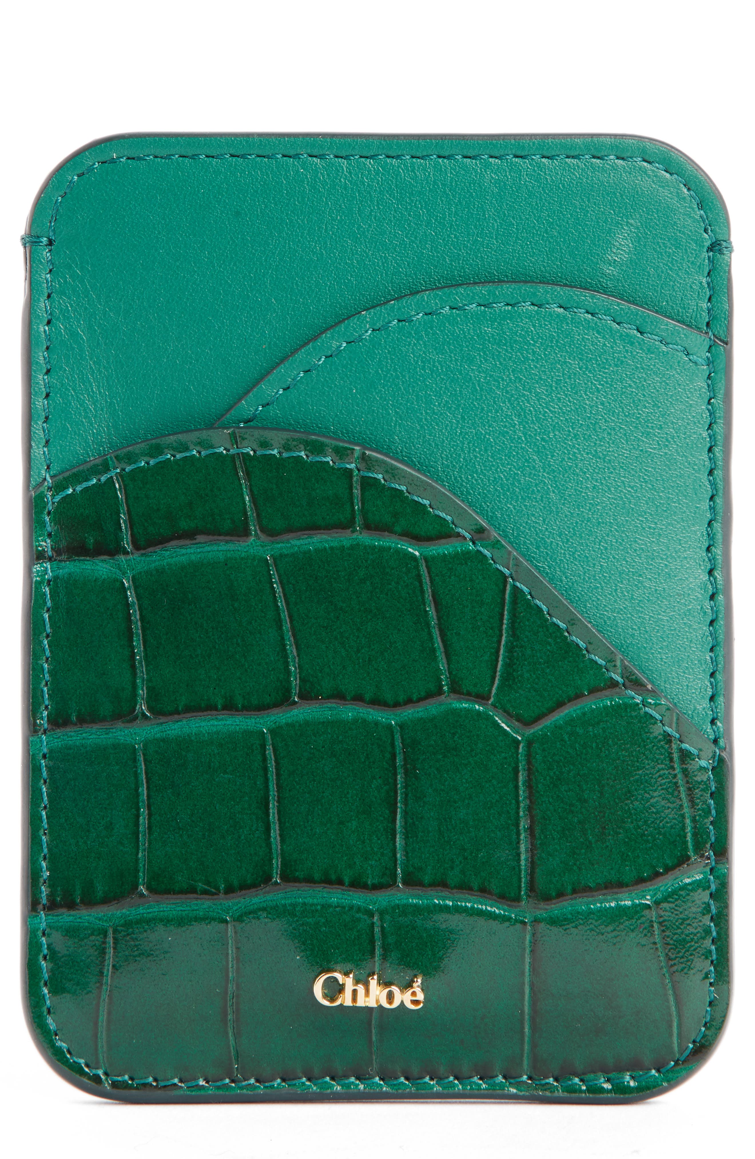 Walden Croc Embossed Leather Card Holder, Main, color, WOODSY GREEN