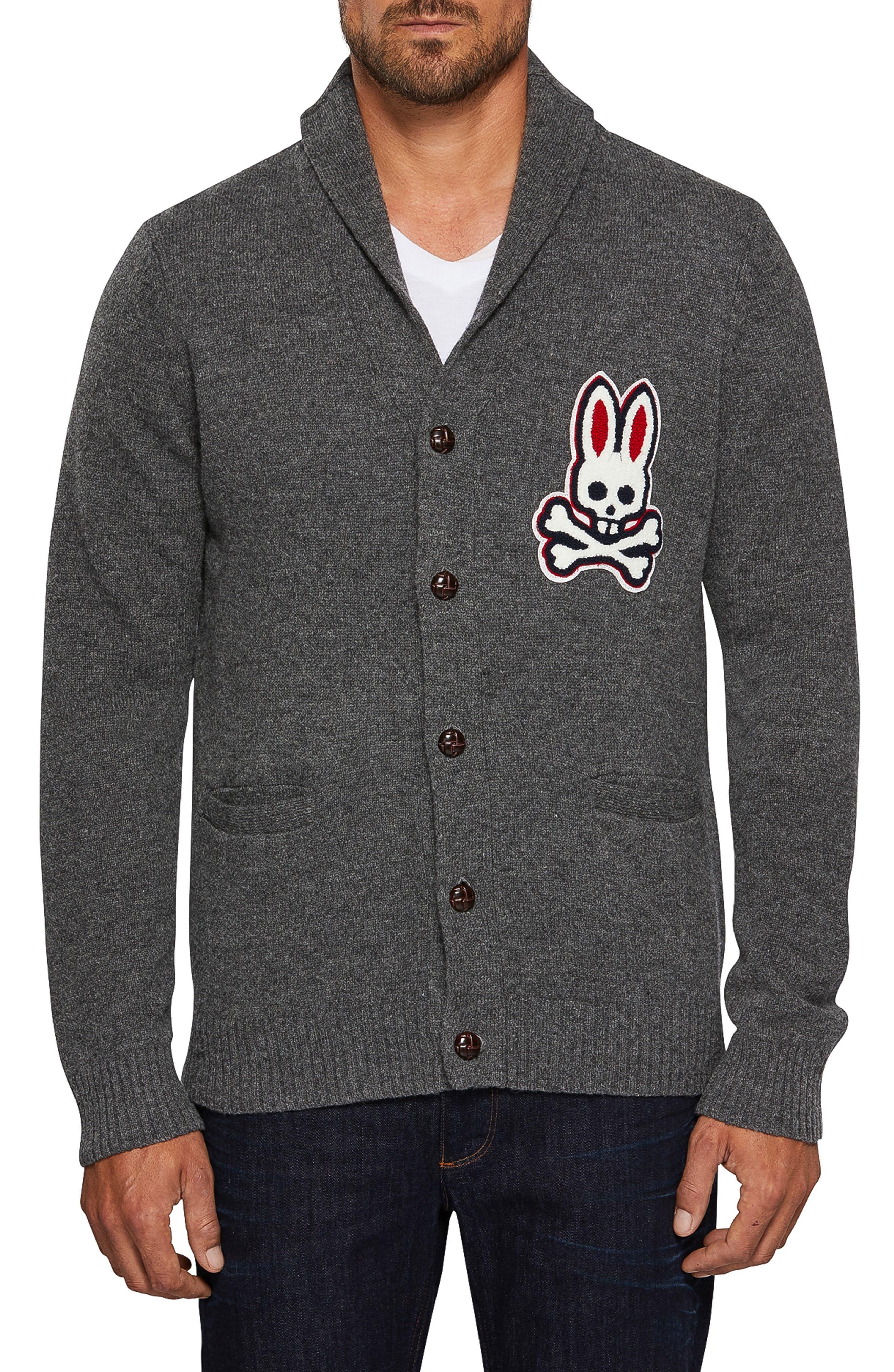 Psycho Bunny Barnes Shawl Neck Wool Cardigan, Grey