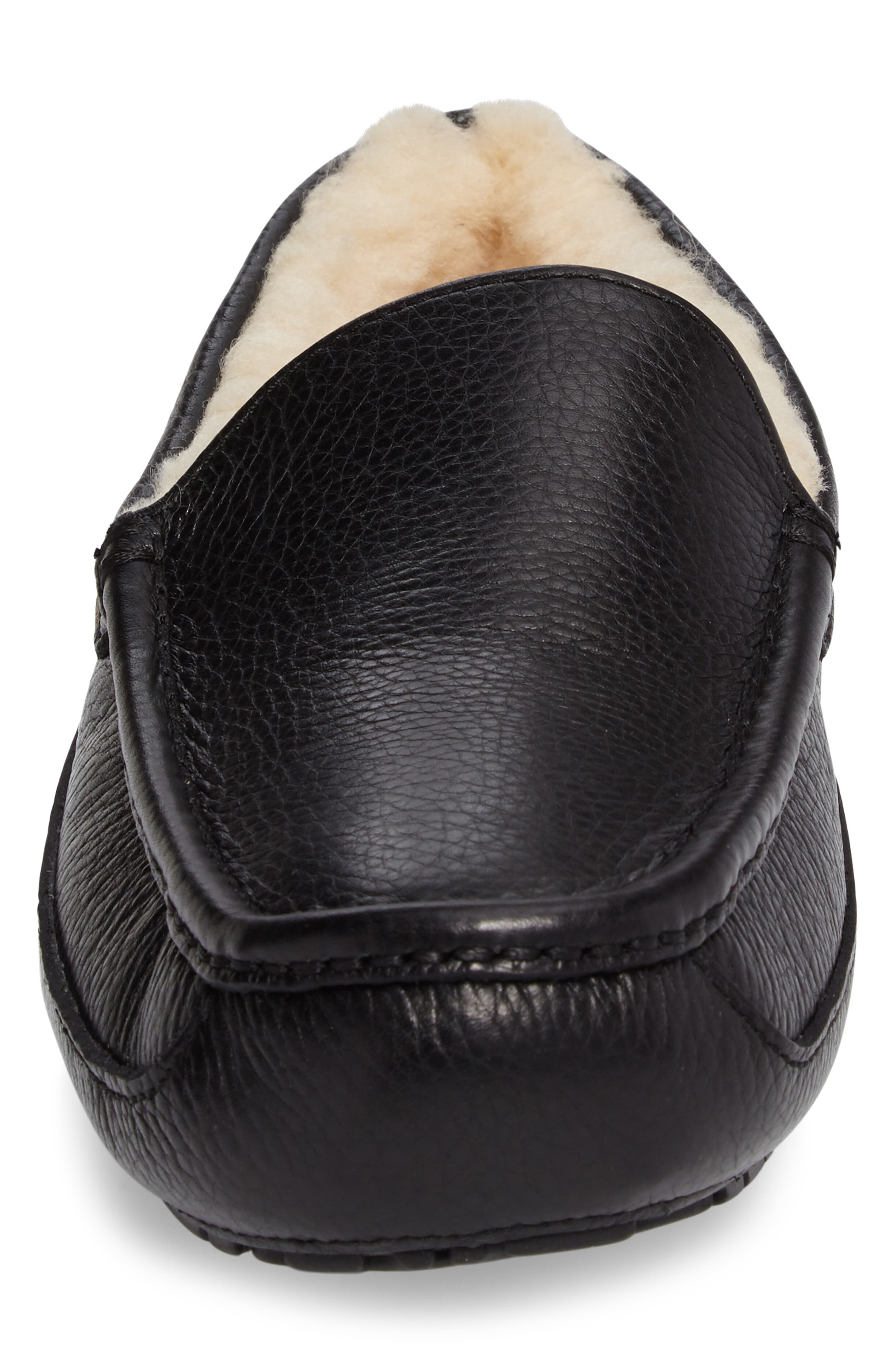 Ascot Leather Slipper,                             Alternate thumbnail 4, color,                             BLACK