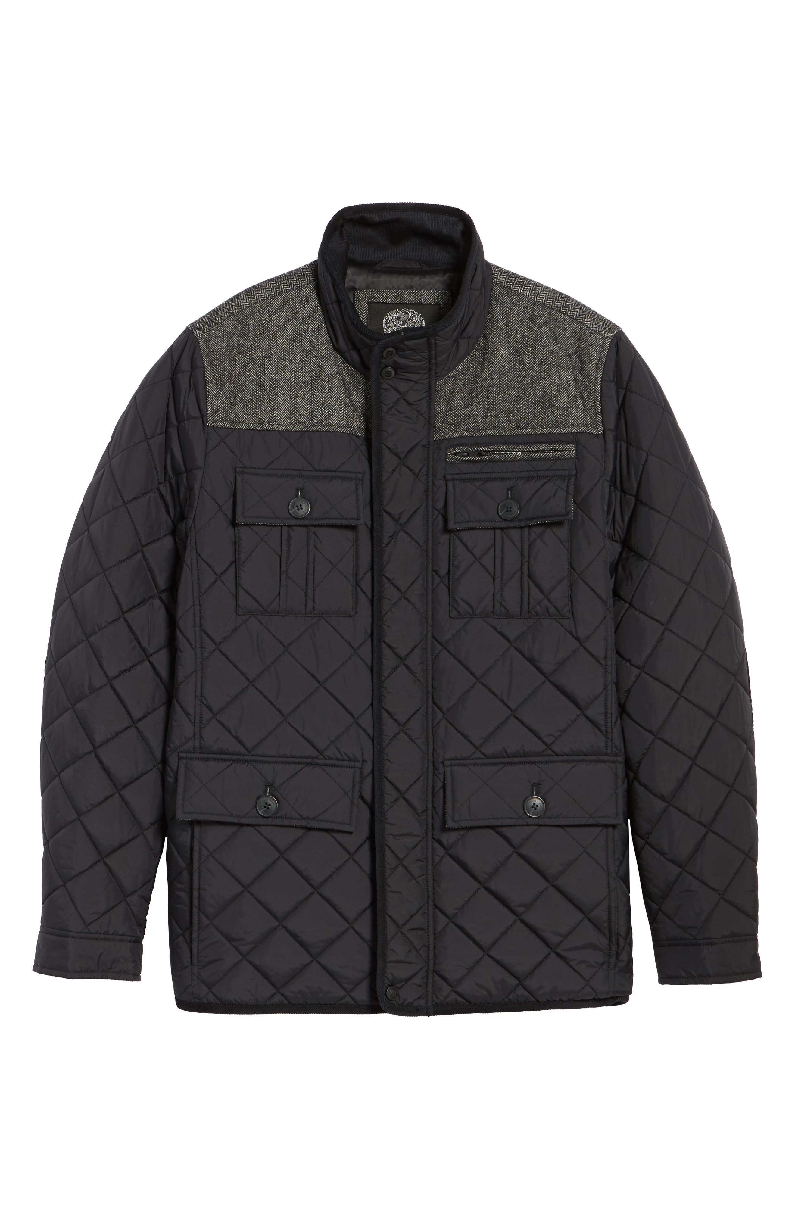 Diamond Quilted Full Zip Jacket,                             Alternate thumbnail 4, color,