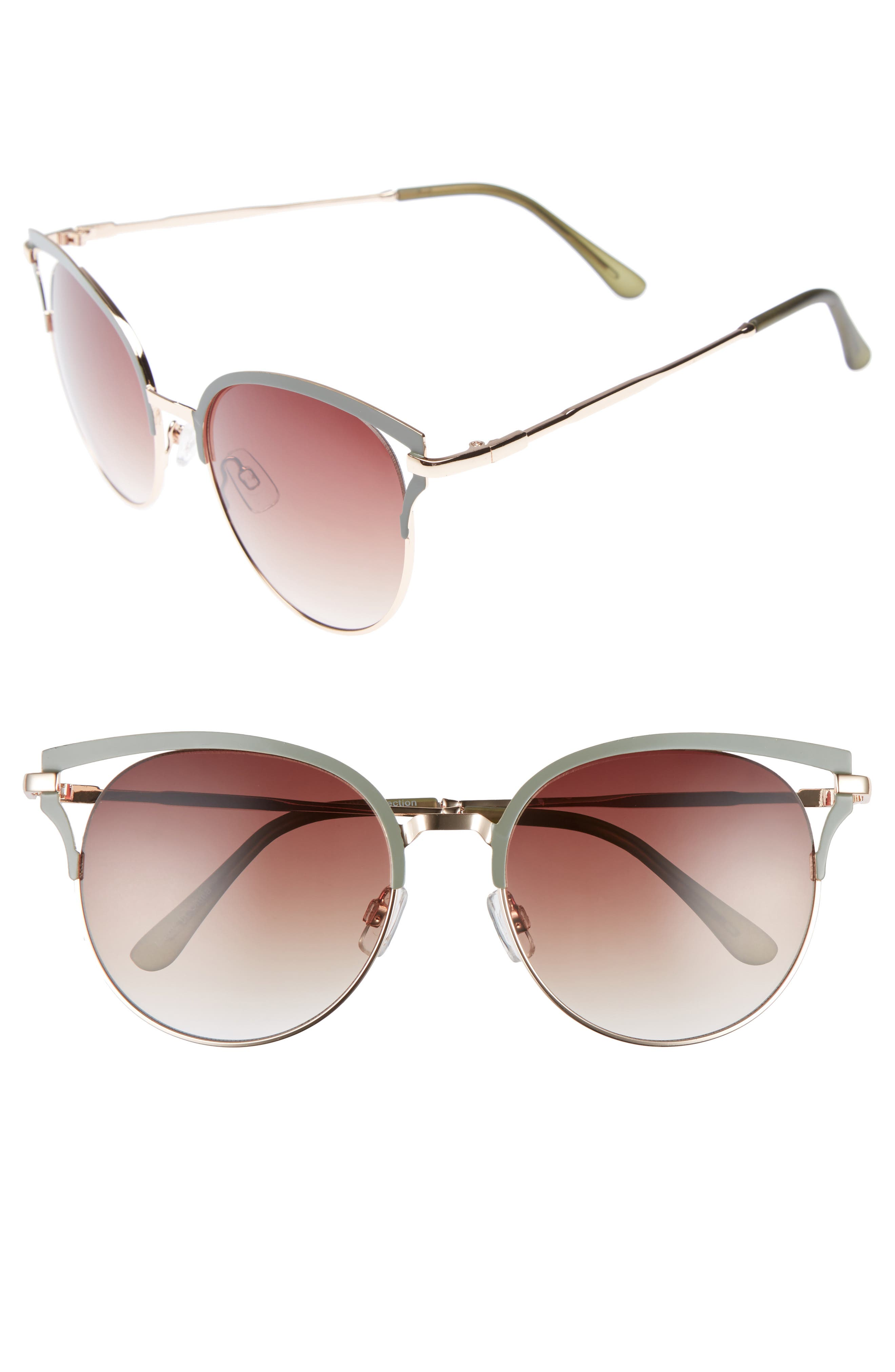 55mm Colored Round Sunglasses,                             Main thumbnail 1, color,                             300