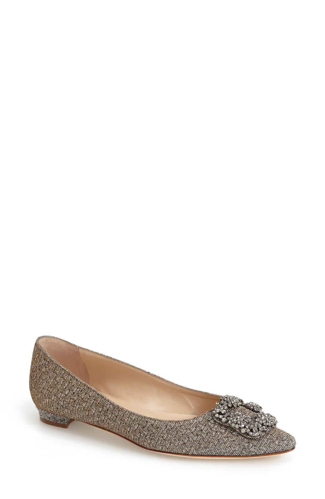 MANOLO BLAHNIK Hangisi Metallic Fabric Buckle Flat in Bronze Fabric
