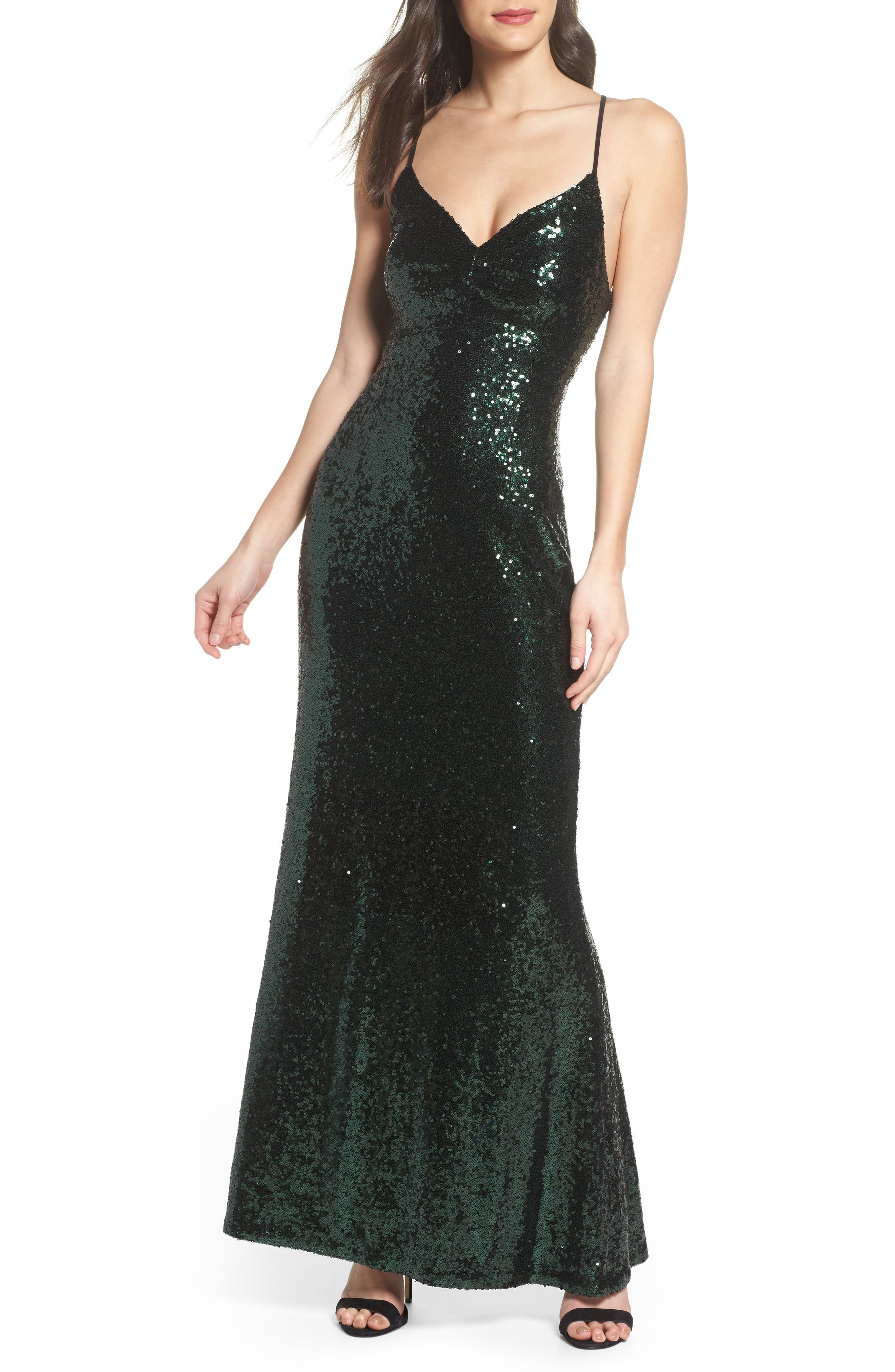 Keyhole Back Sequin Gown,                             Main thumbnail 1, color,                             DARK GREEN