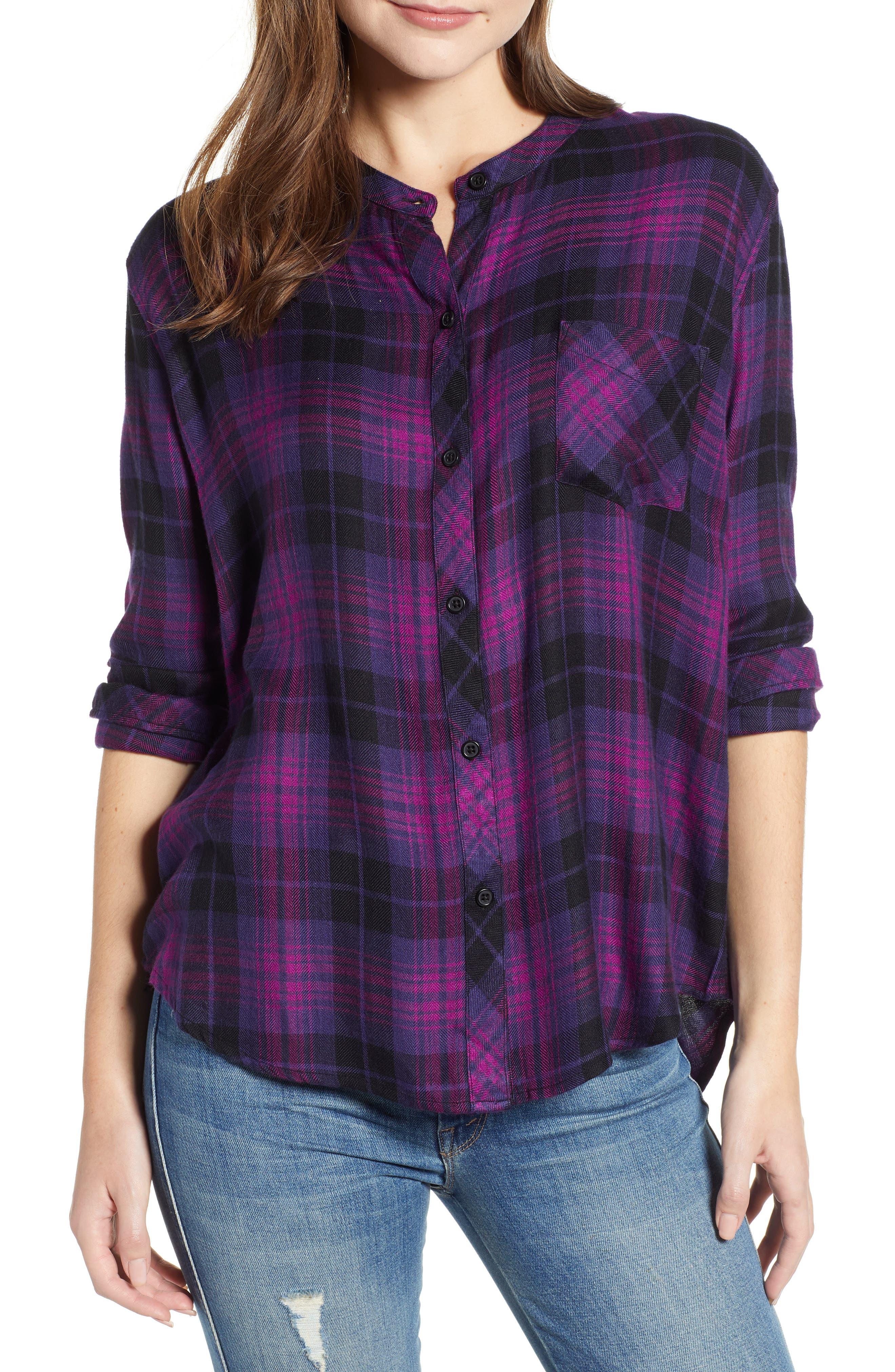 Allison Plaid Shirt,                             Main thumbnail 1, color,                             MAGENTA IRIS BLACK