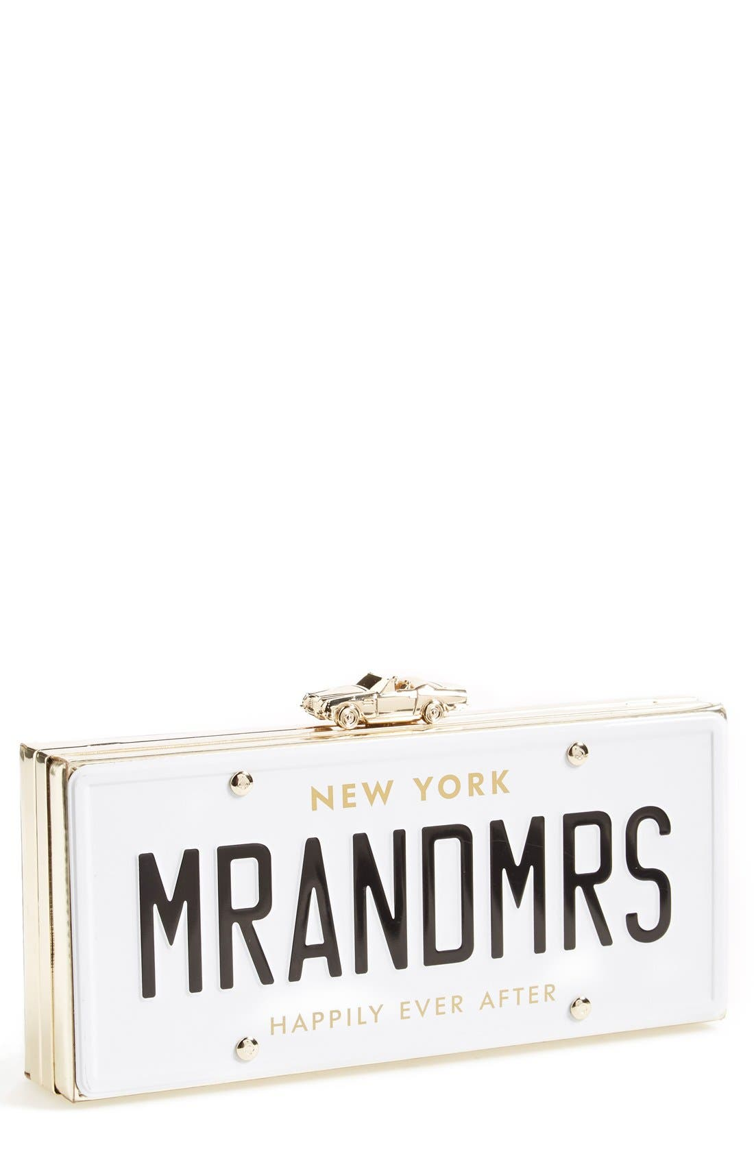 'mr. and mrs. - happily ever after' license plate box clutch,                         Main,                         color, 100