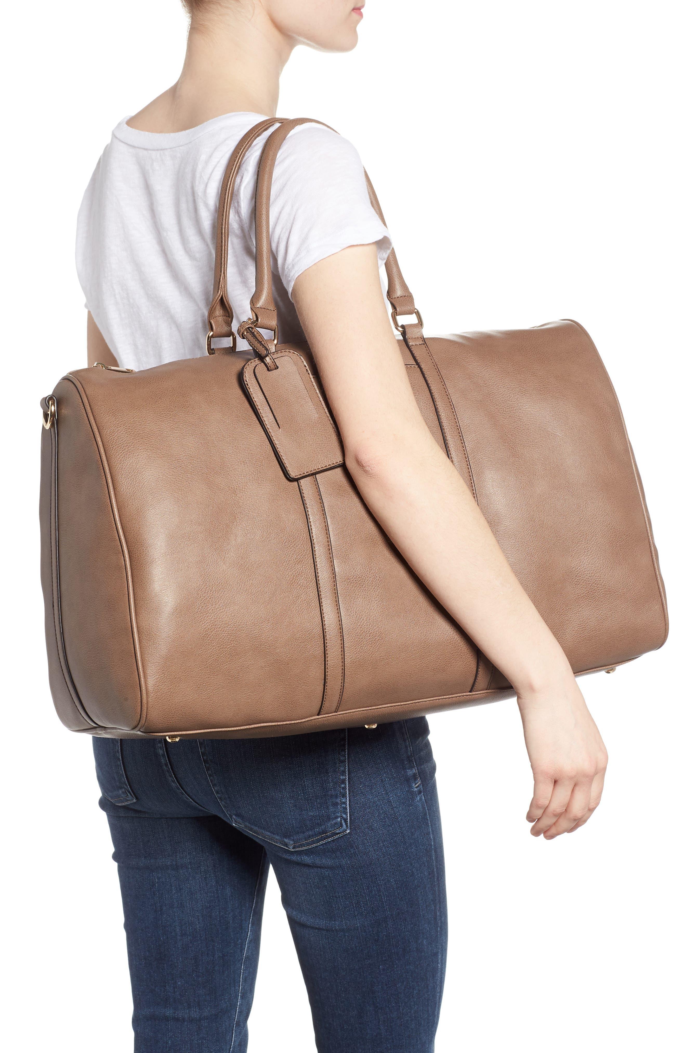 'Lacie' Faux Leather Duffel Bag,                             Alternate thumbnail 2, color,                             022