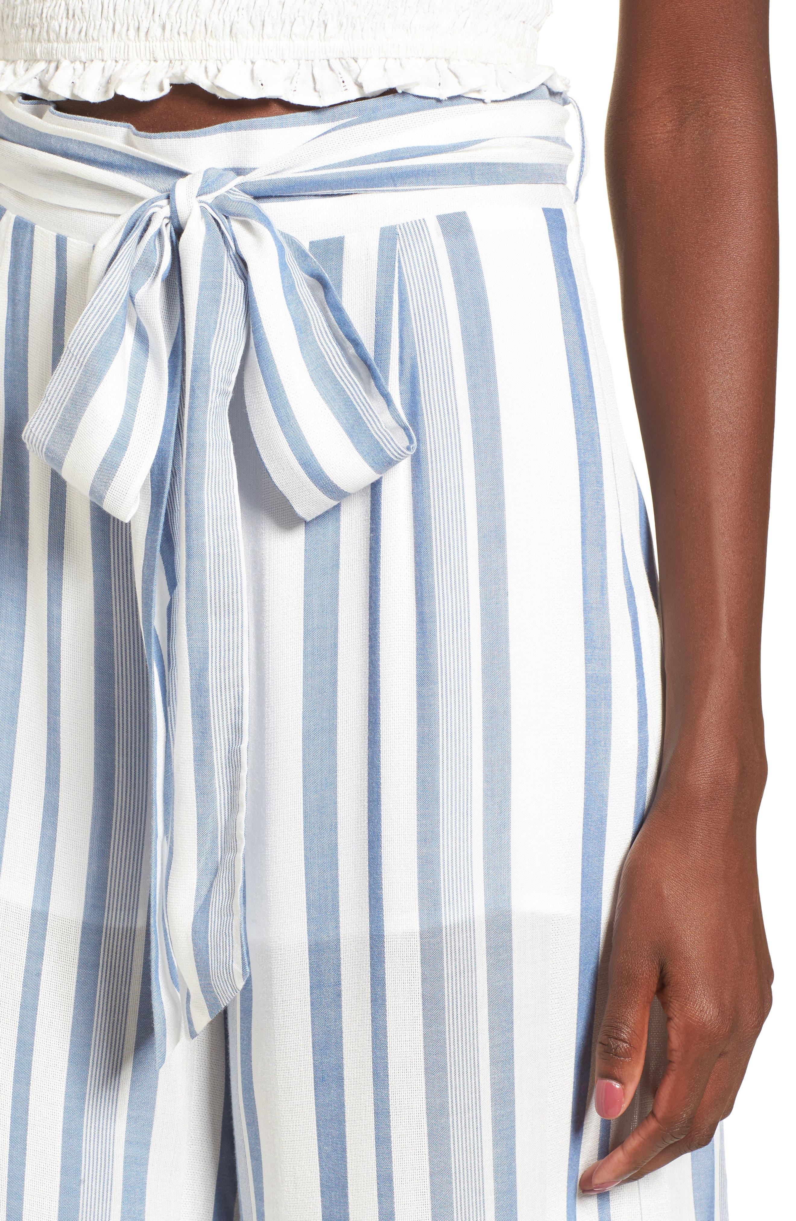 Marina Wide Leg Pants,                             Alternate thumbnail 4, color,                             WHITE/ BLUE