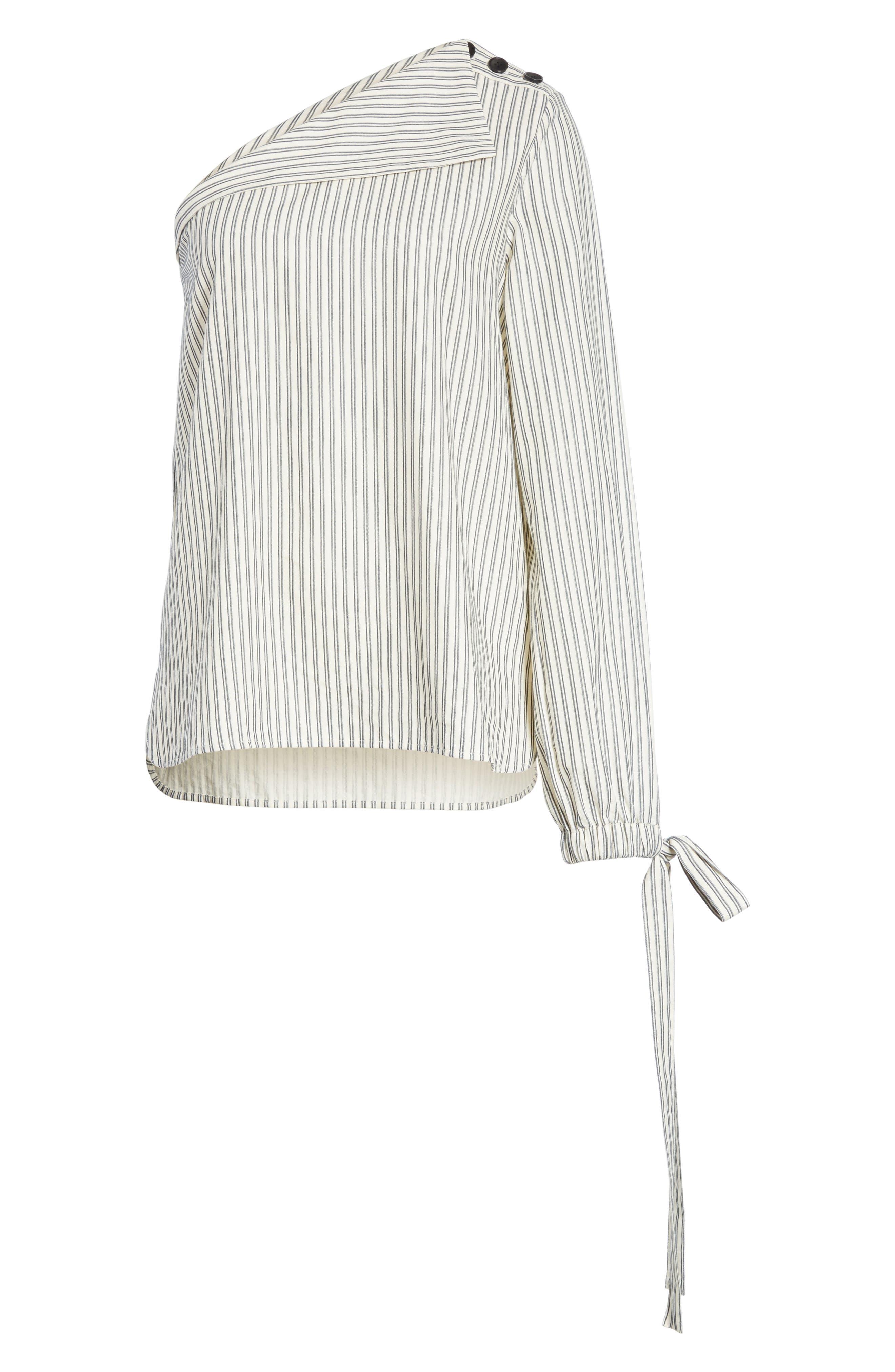 Stripe Tie Cuff One-Shoulder Top,                             Alternate thumbnail 6, color,                             900