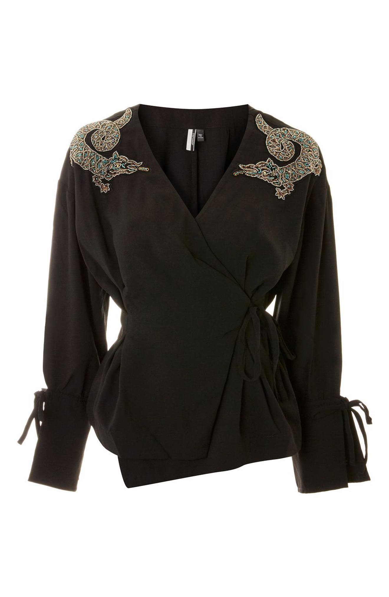 Dragon Embellished Blouse,                             Alternate thumbnail 3, color,