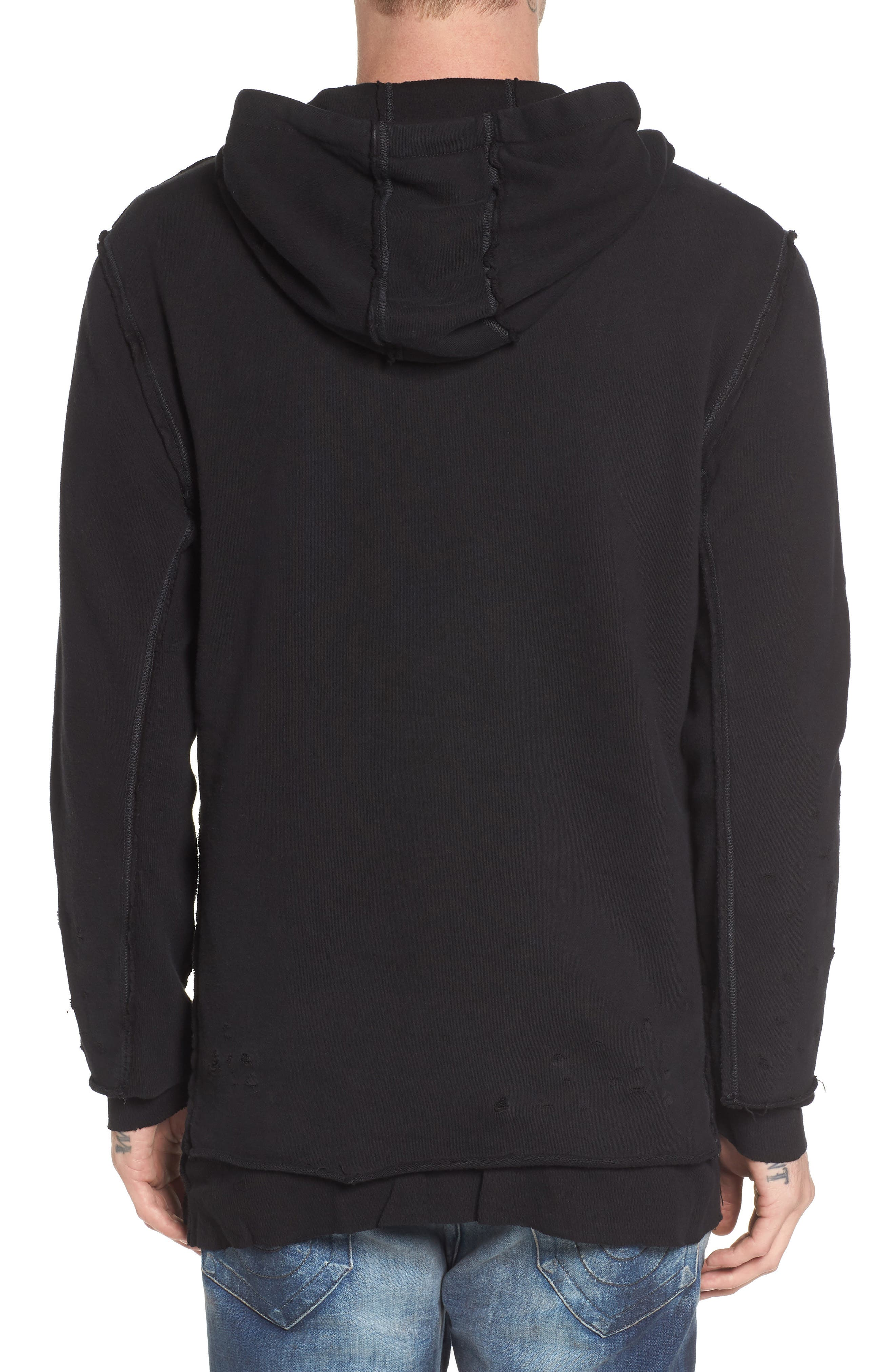 Distressed Pullover Hoodie,                             Alternate thumbnail 2, color,                             001