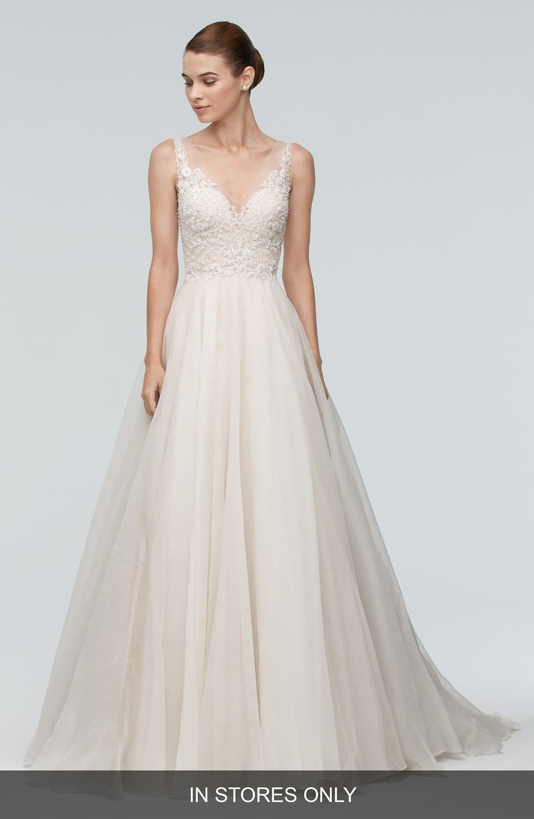 Janet Embellished Tulle & Organza A-Line Gown,                             Main thumbnail 1, color,                             IVORY/NUDE