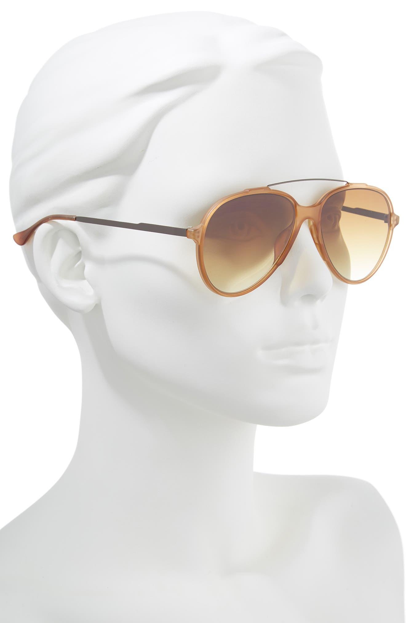 55mm Aviator Sunglasses,                             Alternate thumbnail 2, color,                             BROWN