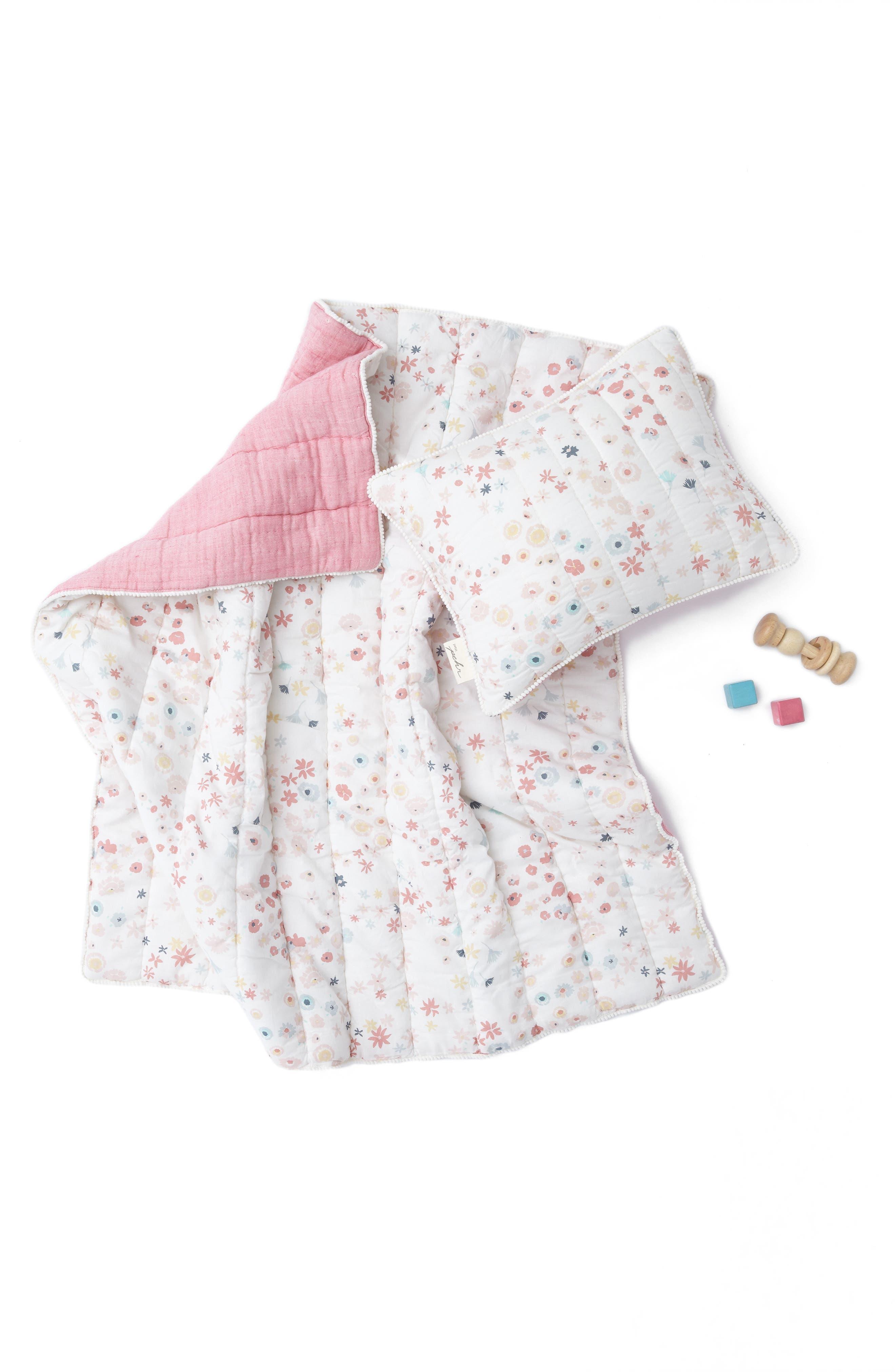 Showers Crib Sheet, Swaddle, Blanket & Pillow Set,                             Alternate thumbnail 4, color,                             PINK