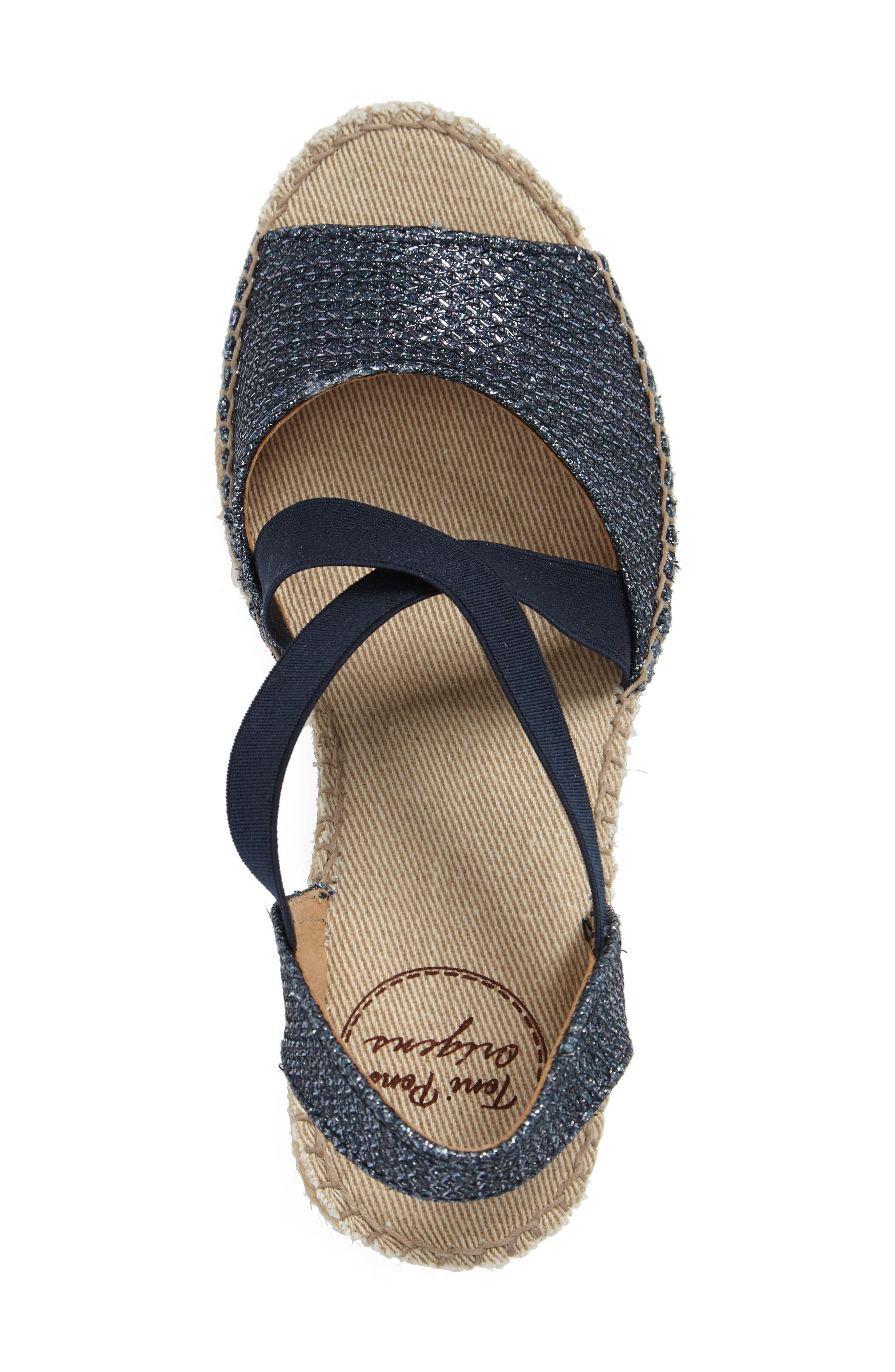 Sol Wedge Espadrille Sandal,                             Alternate thumbnail 3, color,                             NAVY FABRIC