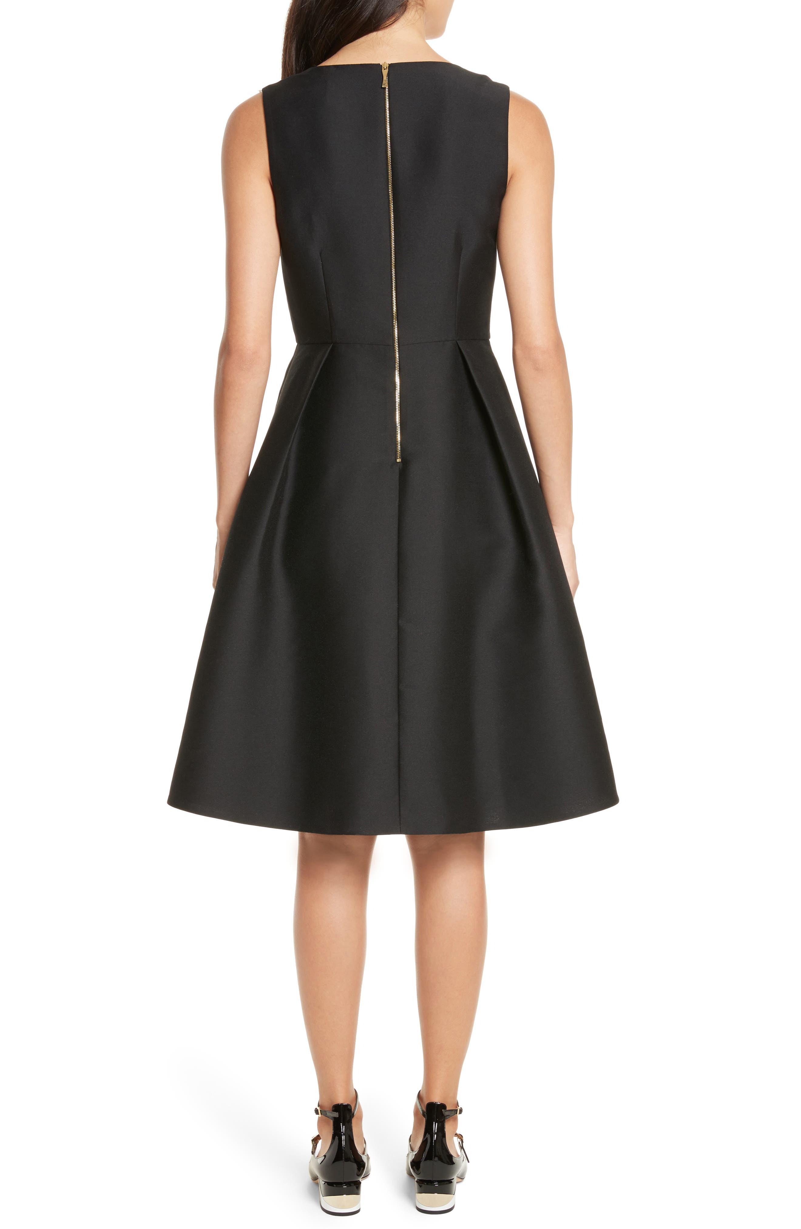 bow embellished fit & flare dress,                             Alternate thumbnail 2, color,                             001