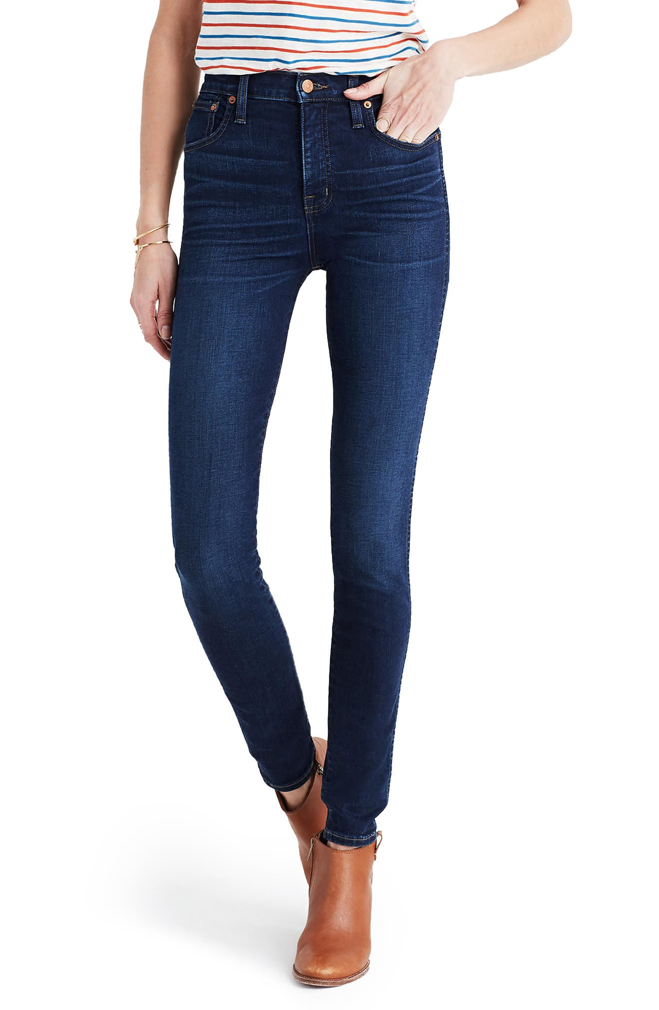 MADEWELL,                             10-Inch High Rise Skinny Jeans,                             Main thumbnail 1, color,                             HAYES WASH