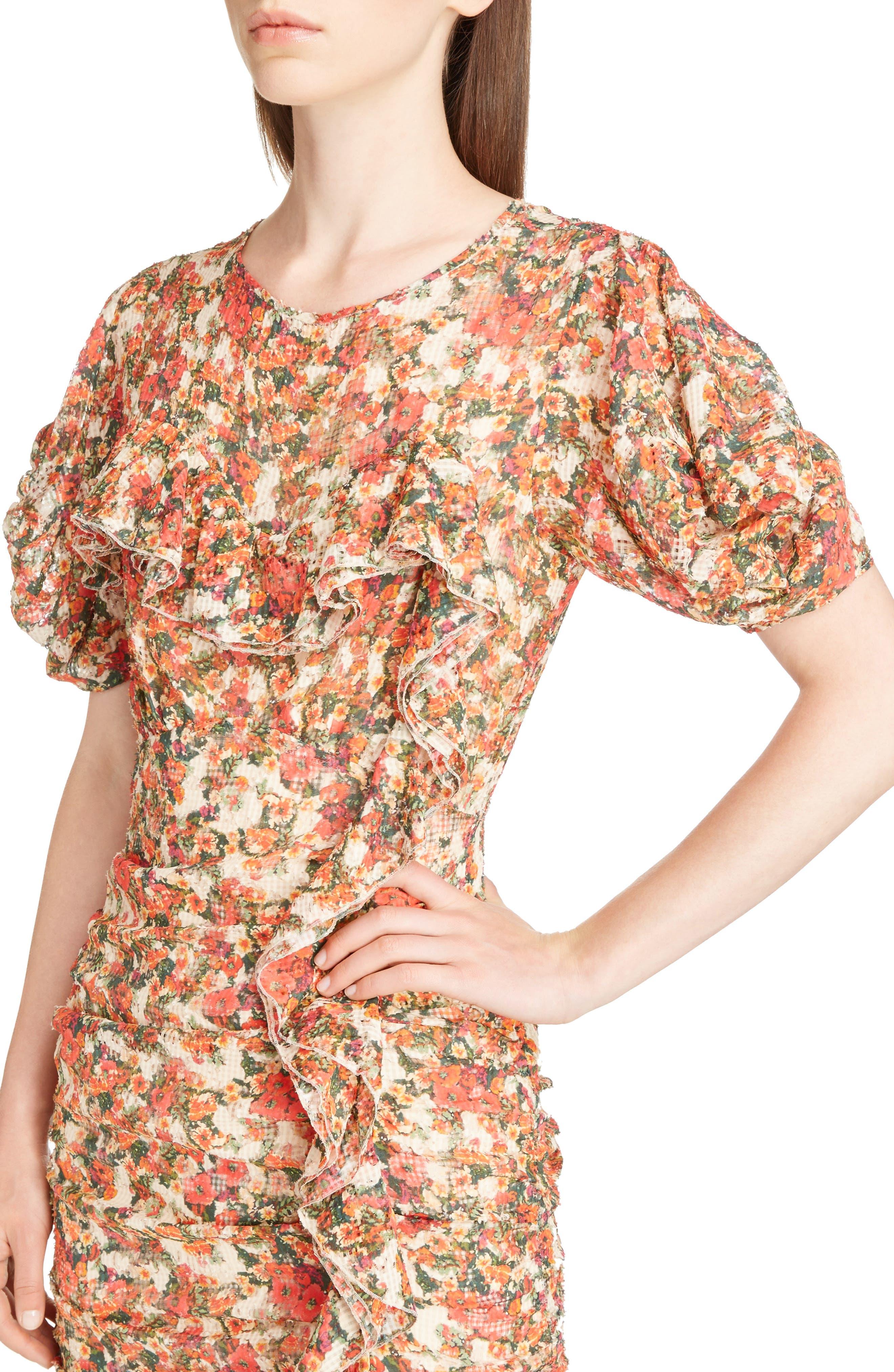Floral Print Ruffle Dress,                             Alternate thumbnail 4, color,                             600