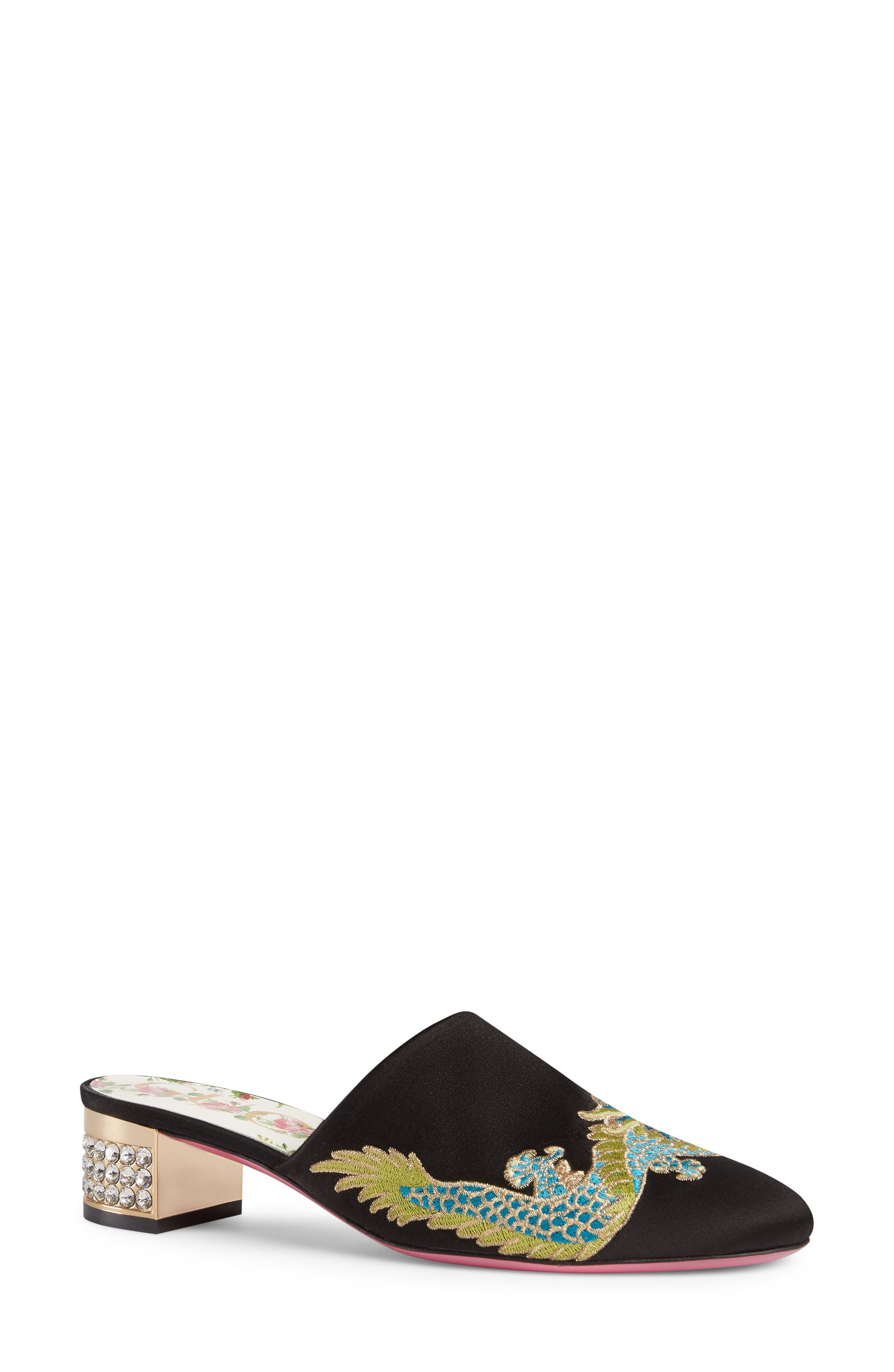 GUCCI,                             Candy Crystal Embellished Mule,                             Main thumbnail 1, color,                             001