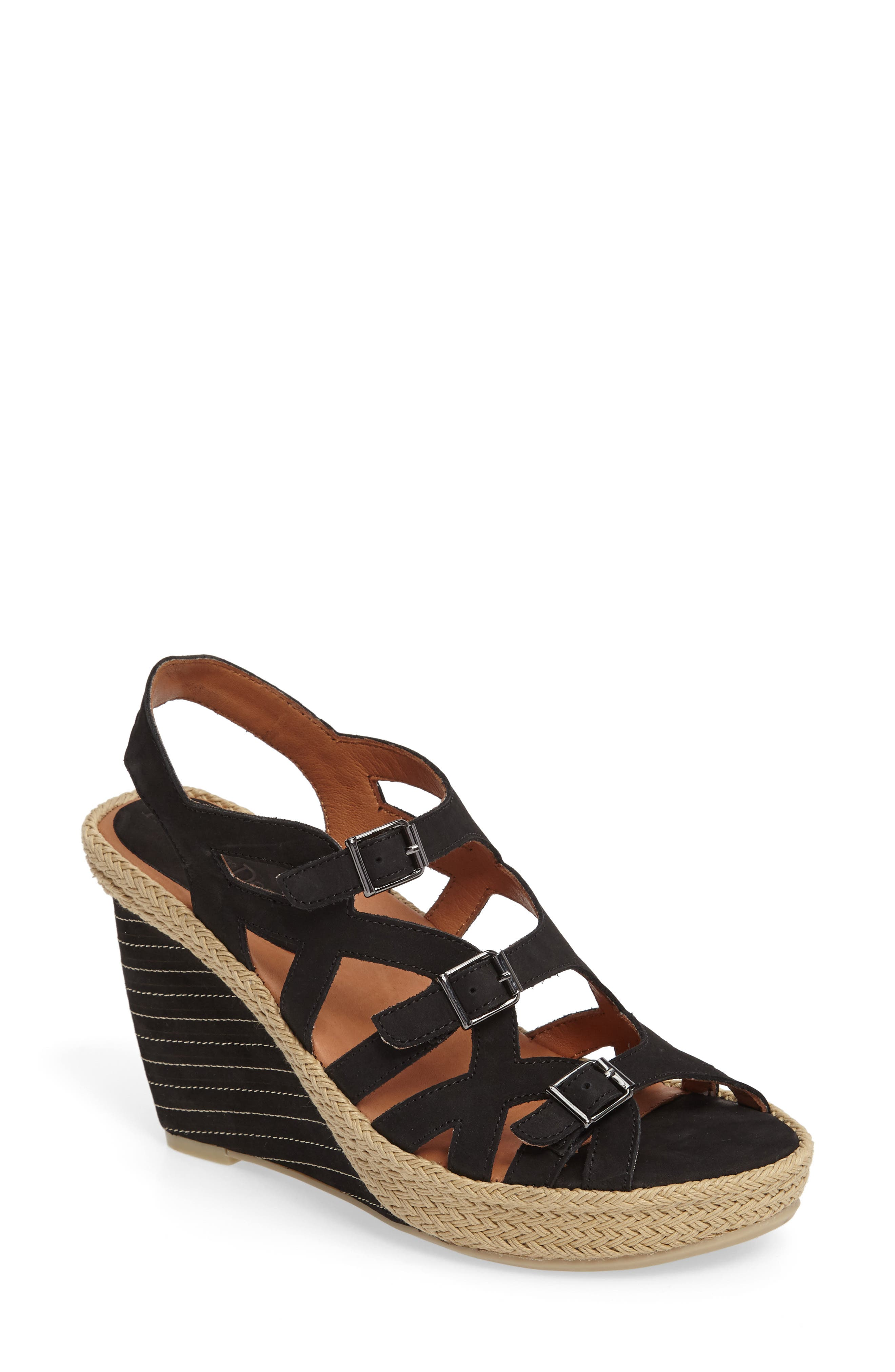 Ignacia Wedge Sandal,                             Main thumbnail 1, color,                             BLACK NUBUCK
