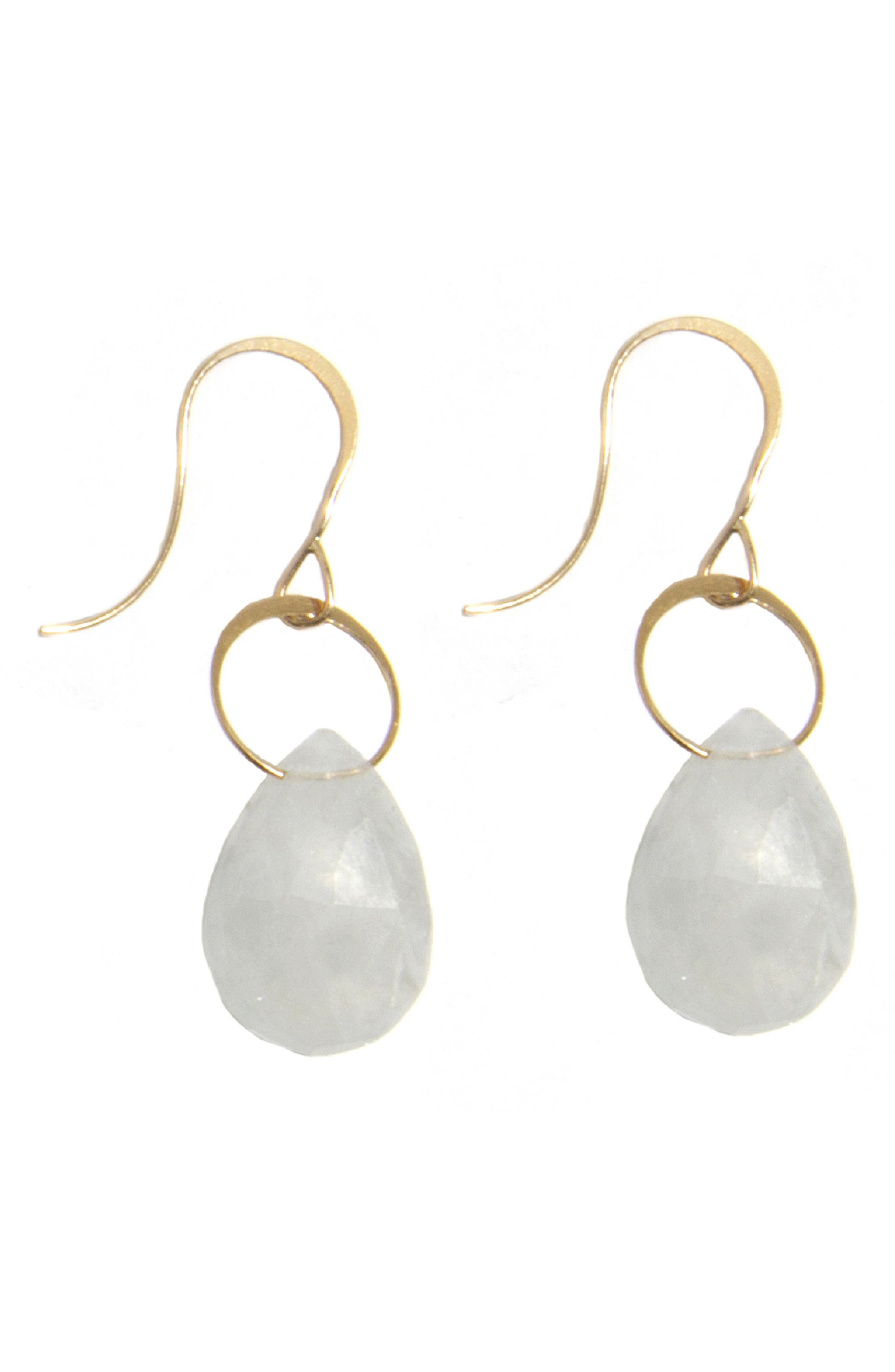 MELISSA JOY MANNING Rainbow Moonstone Drop Earrings in Yellow Gold