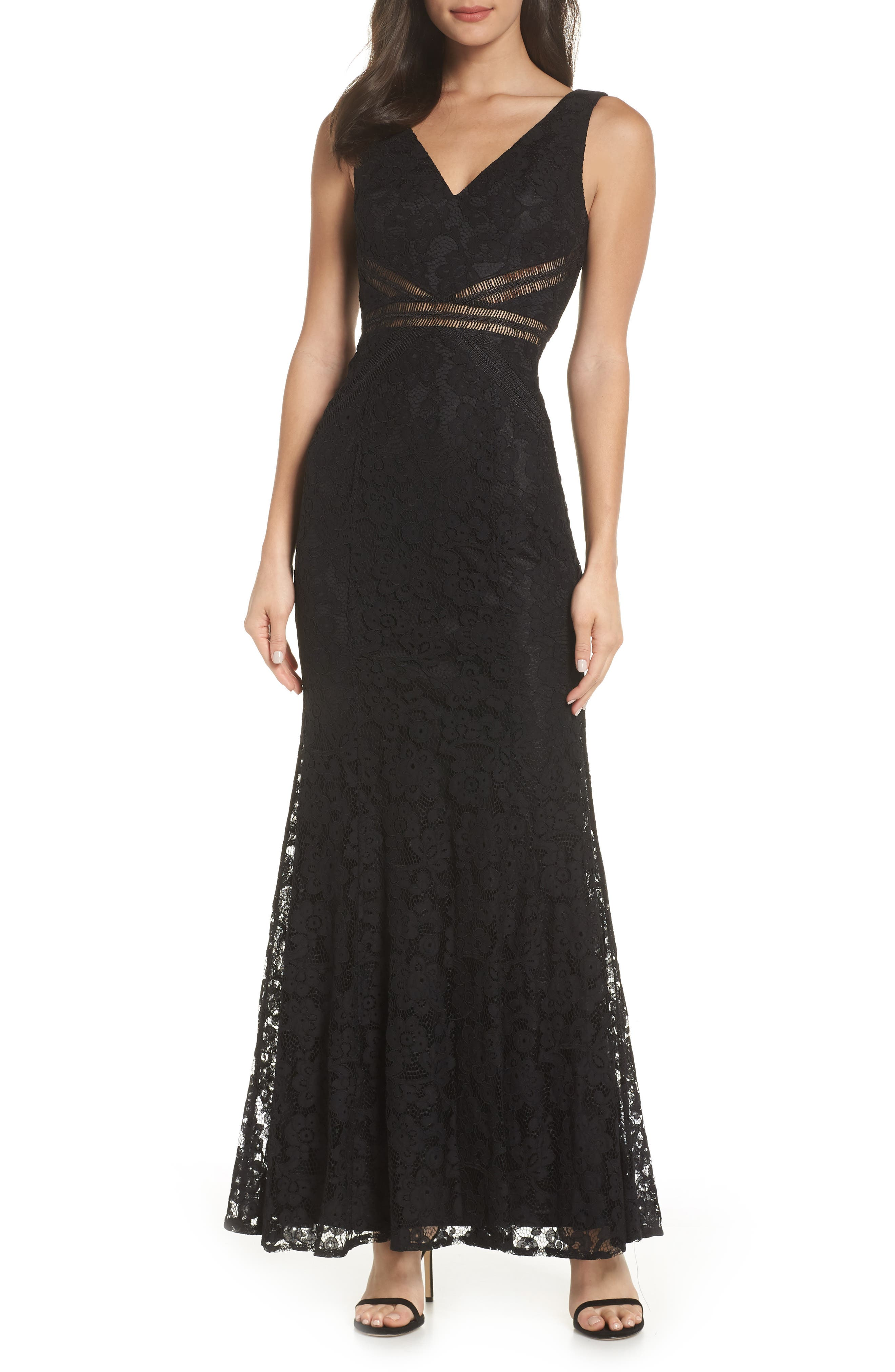 Lulus My Forever Lace Trumpet Gown, Black
