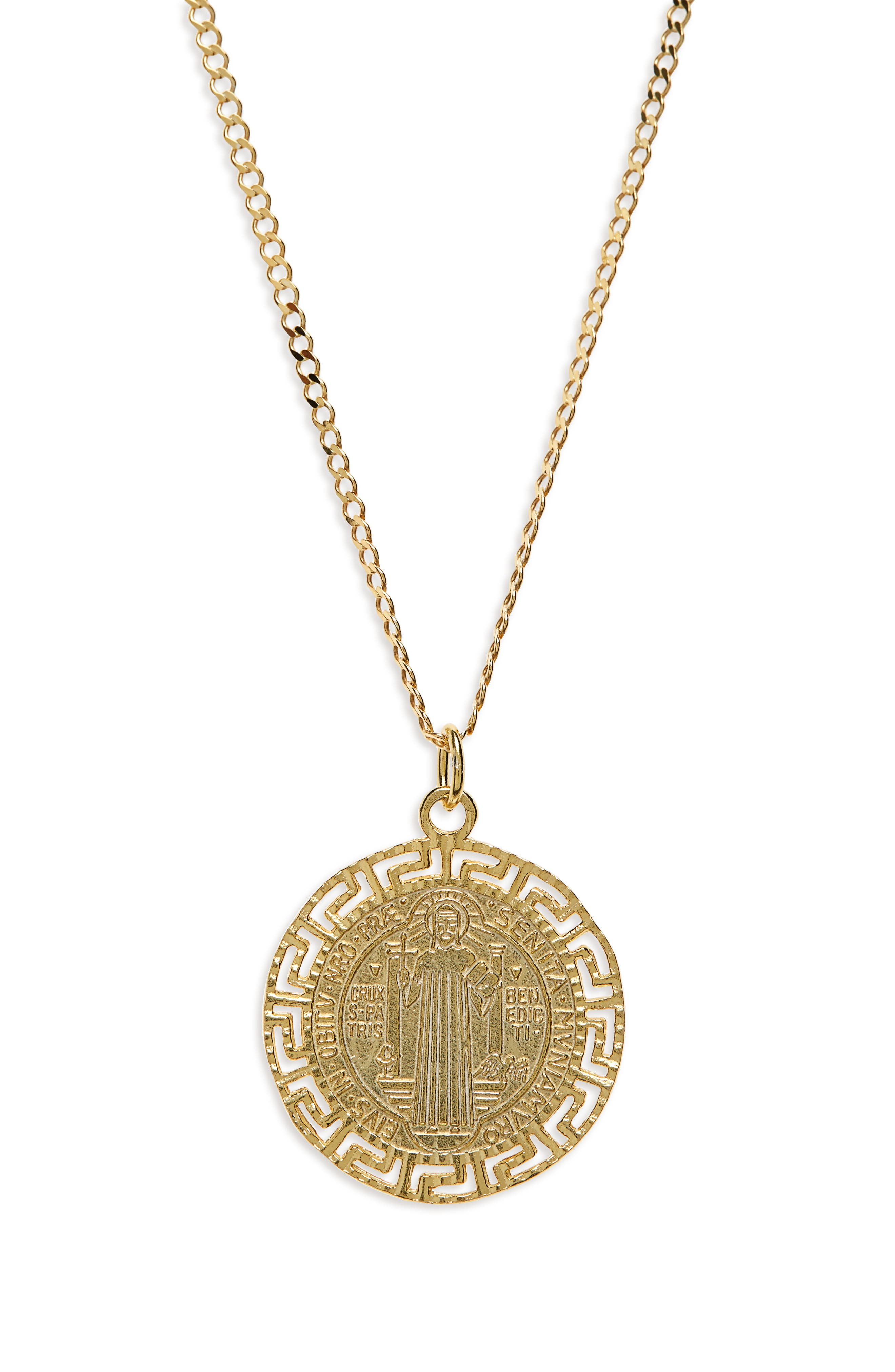 Antique Coin Medallion Necklace,                             Main thumbnail 1, color,                             710