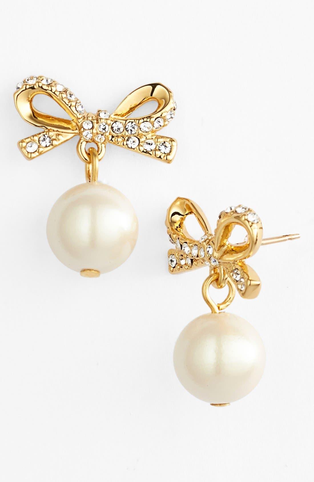 KATE SPADE NEW YORK,                             'skinny mini' bow drop earrings,                             Main thumbnail 1, color,                             142